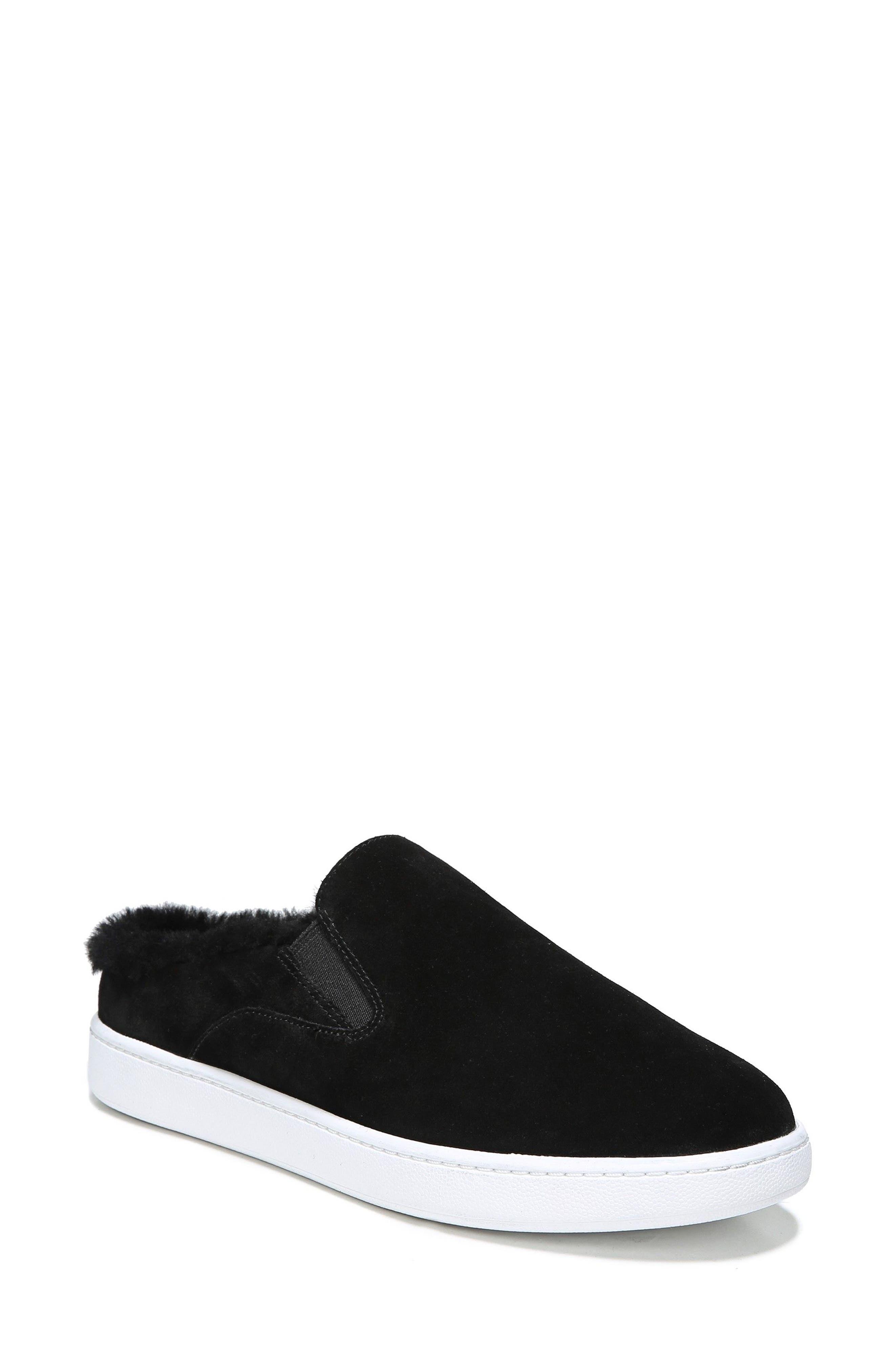 Verrell Genuine Shearling Slip-On Sneaker,                             Main thumbnail 1, color,                             001