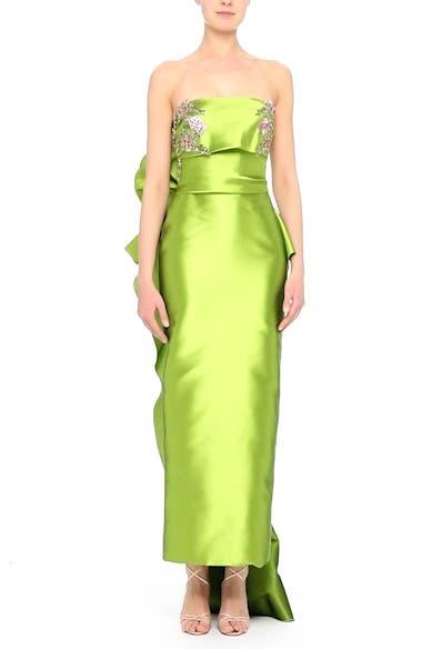 Embellished Mikado Strapless Column Gown, video thumbnail