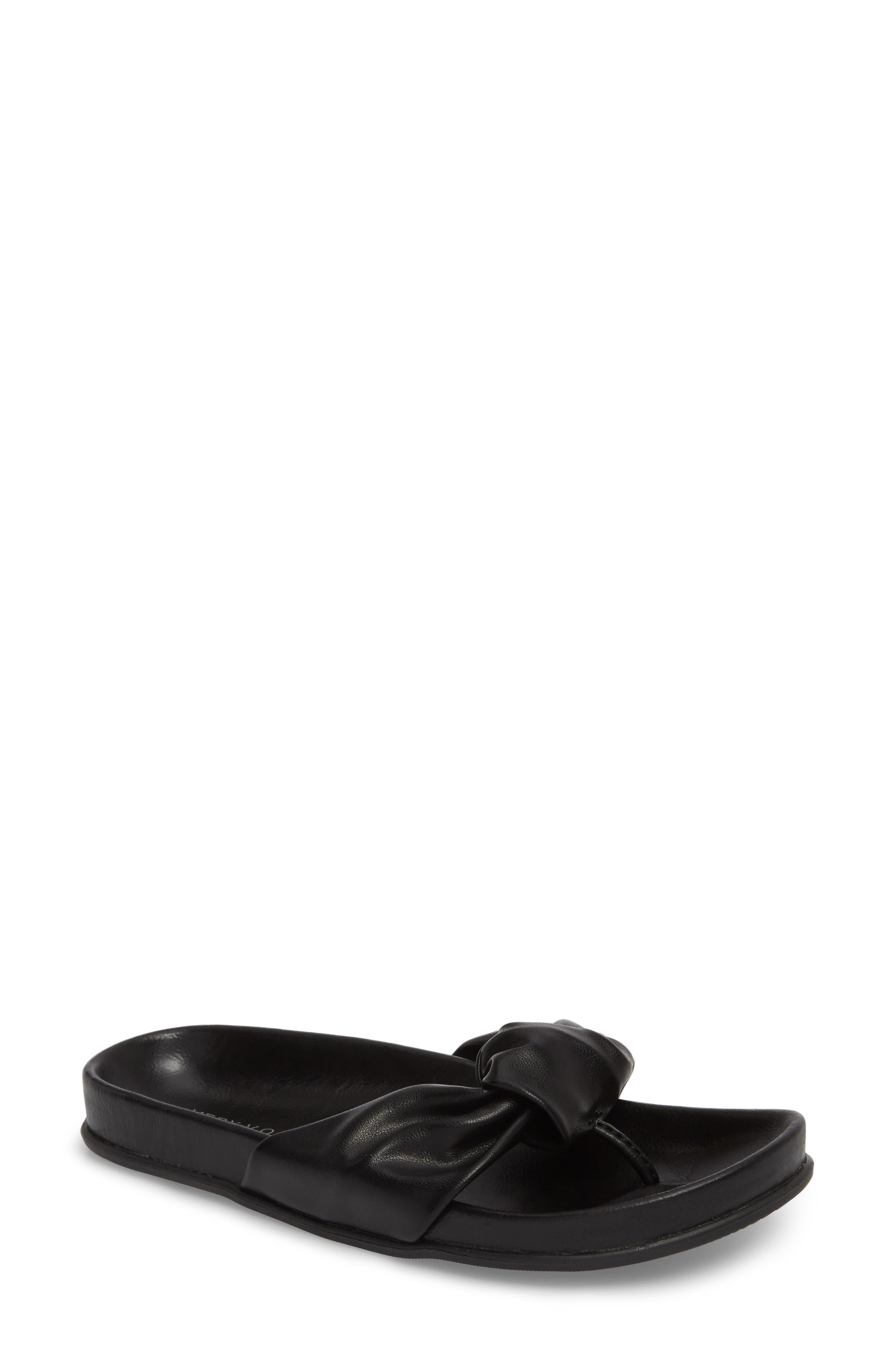 Glaze Bow Sandal,                             Main thumbnail 1, color,                             BLACK