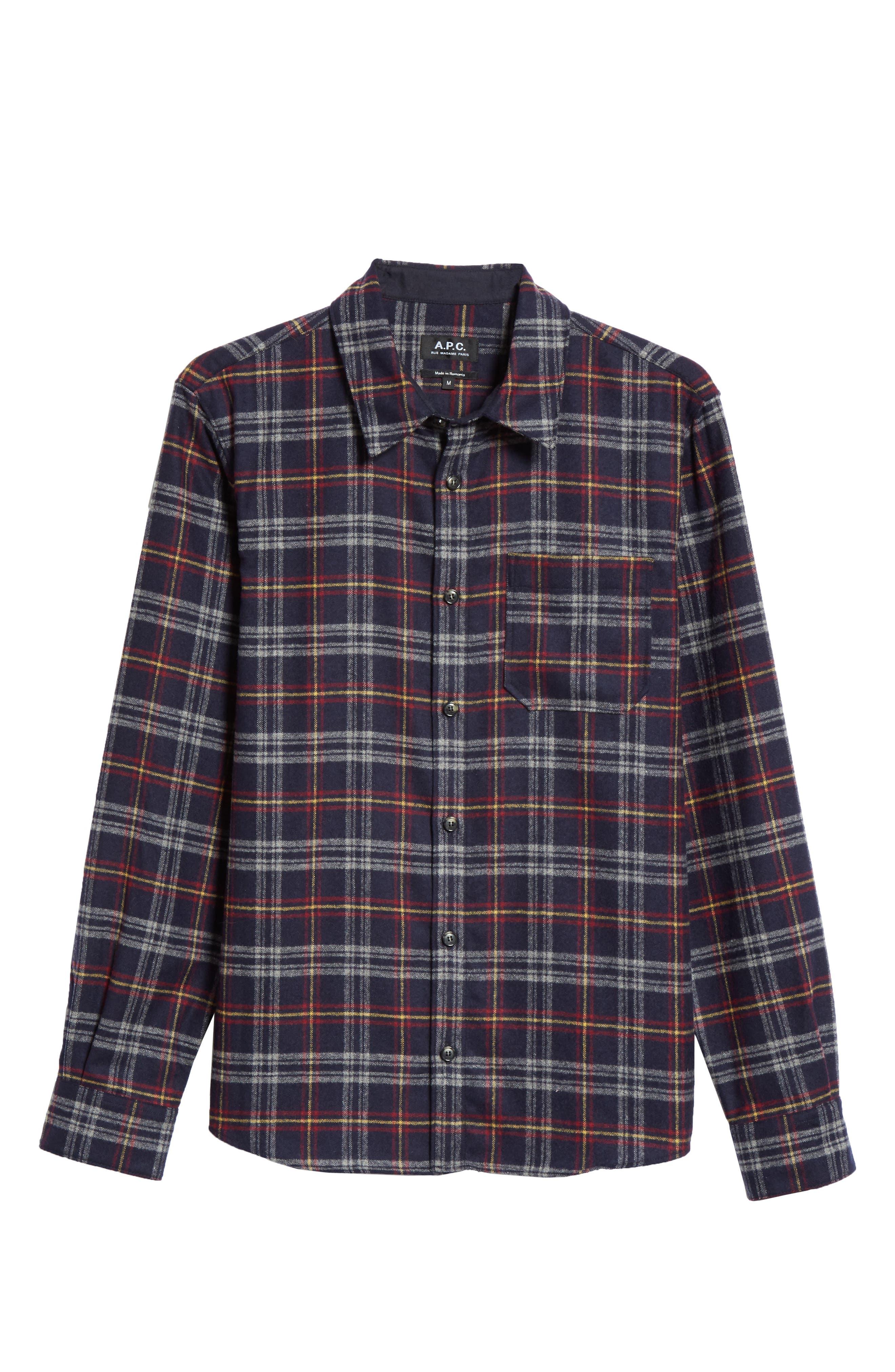 Check Flannel Shirt,                             Alternate thumbnail 5, color,                             IAK NAVY