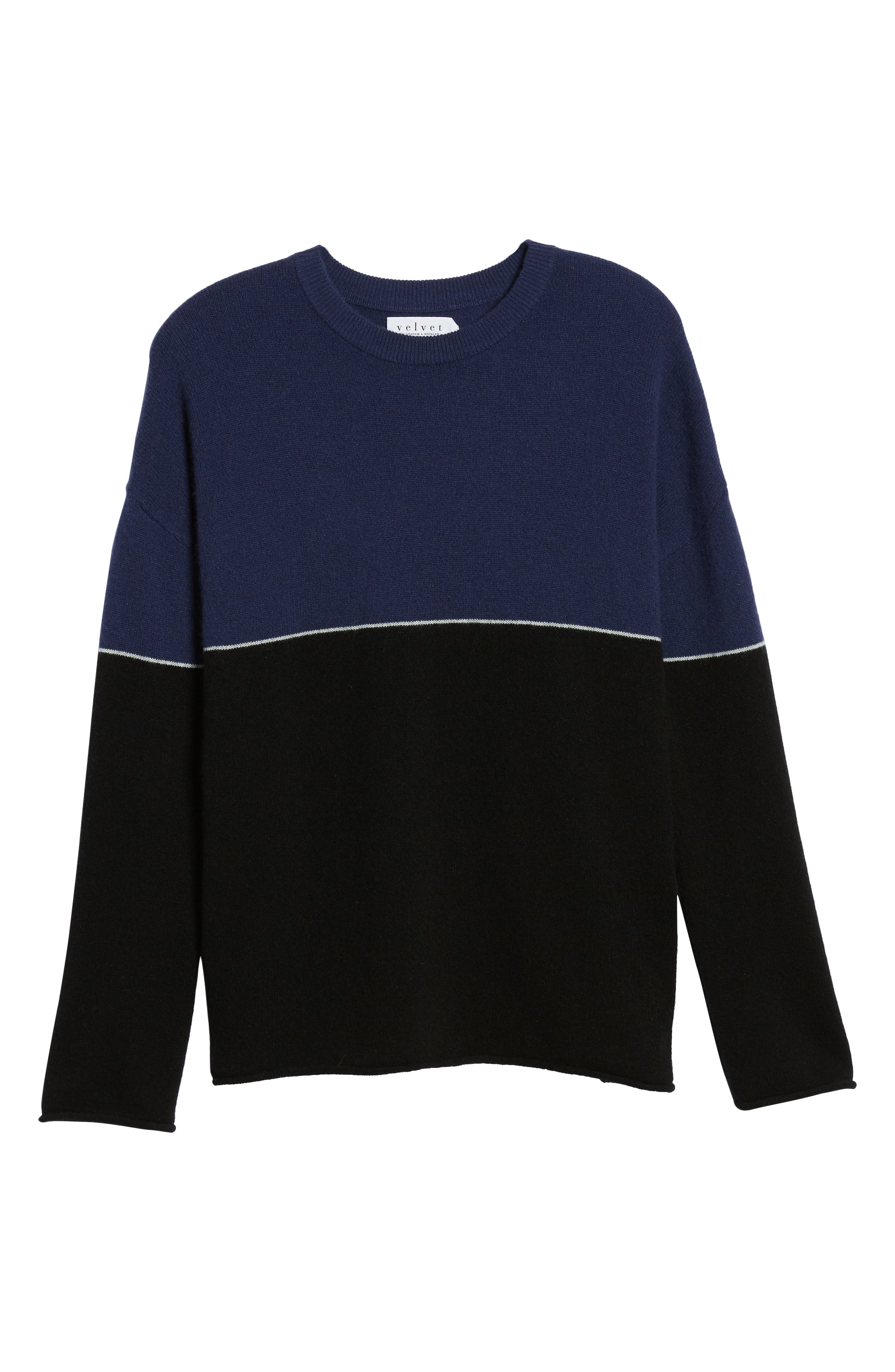 Cashmere Colorblock Sweater,                             Alternate thumbnail 6, color,                             001
