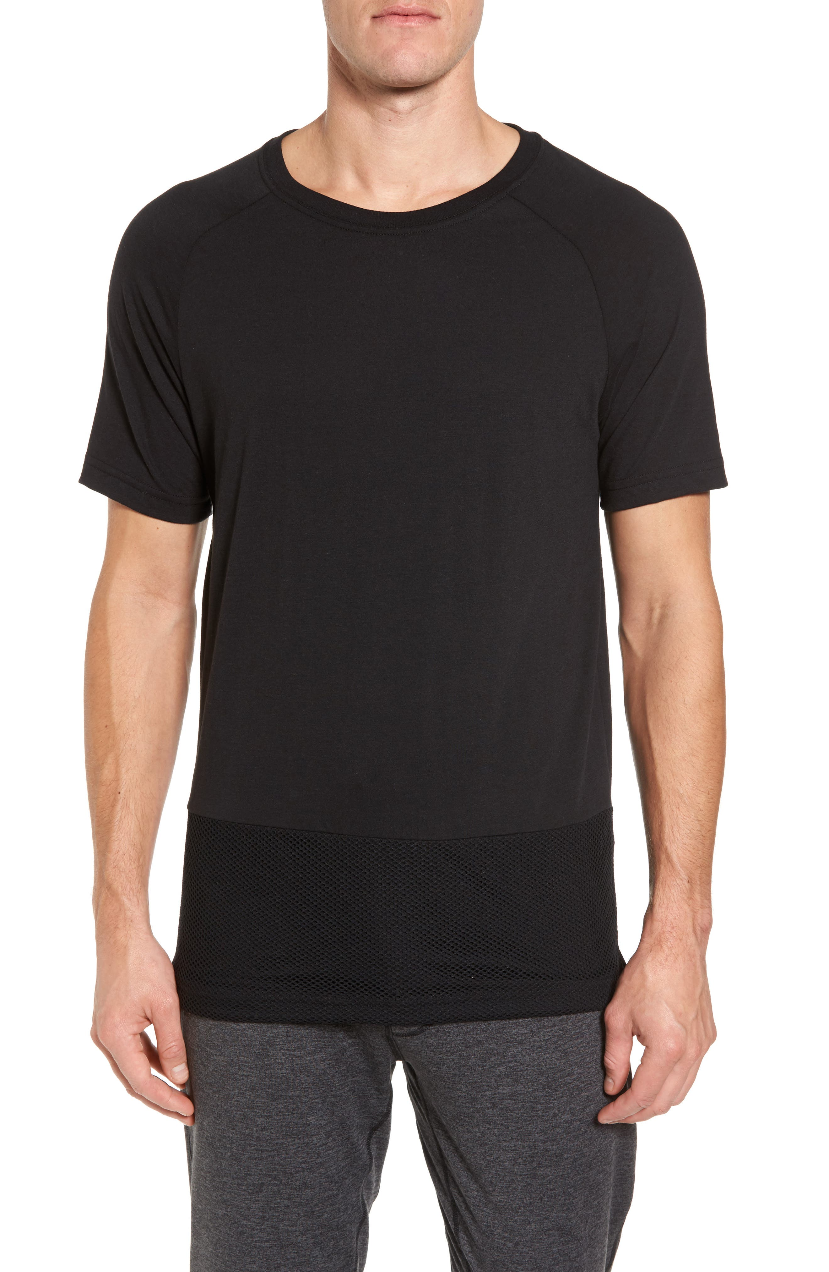Darma Mesh Hemmed T-Shirt,                             Main thumbnail 1, color,                             BLACK