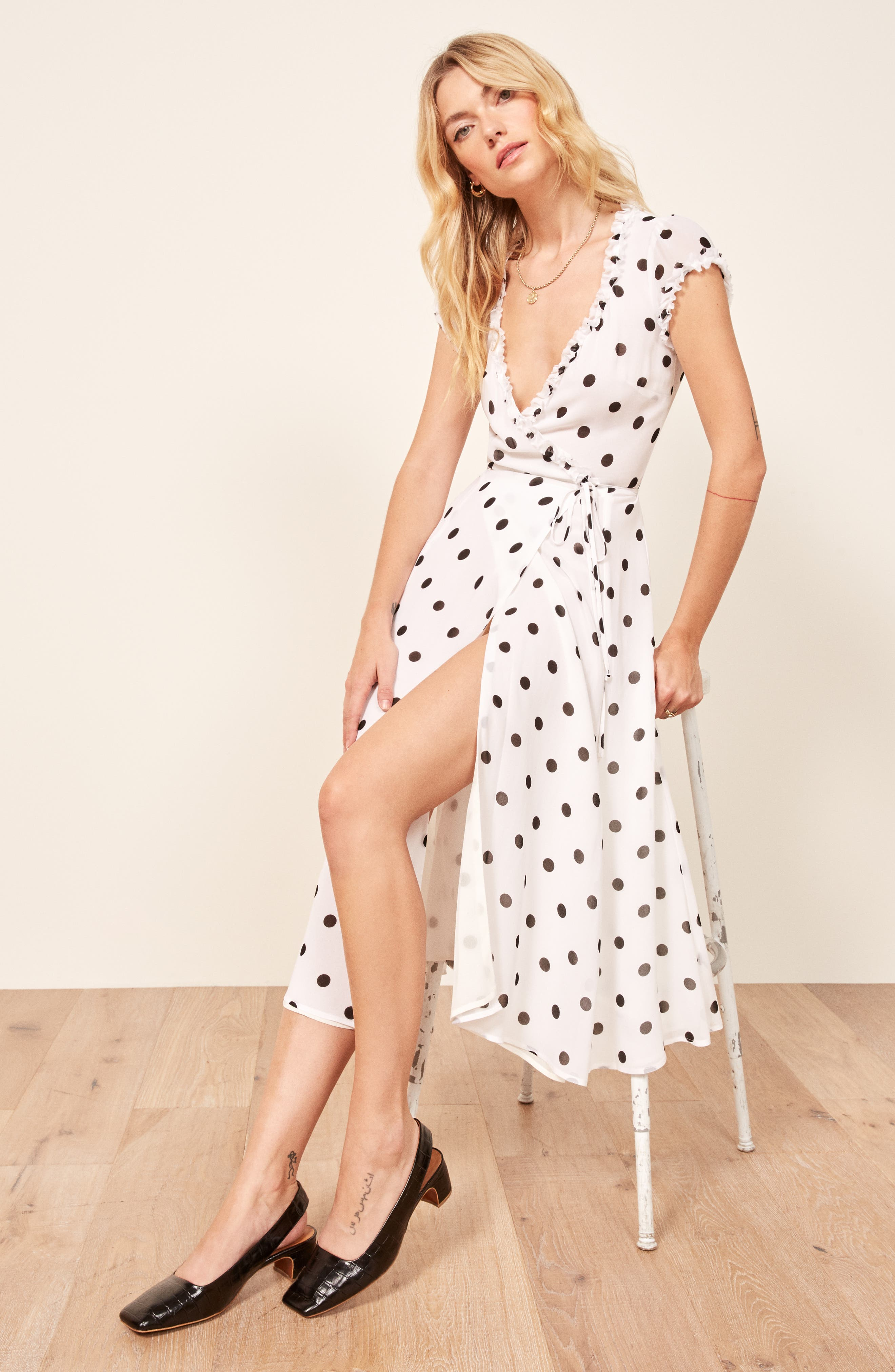Gwenyth Polka Dot Wrap Dress,                             Alternate thumbnail 2, color,                             COMET