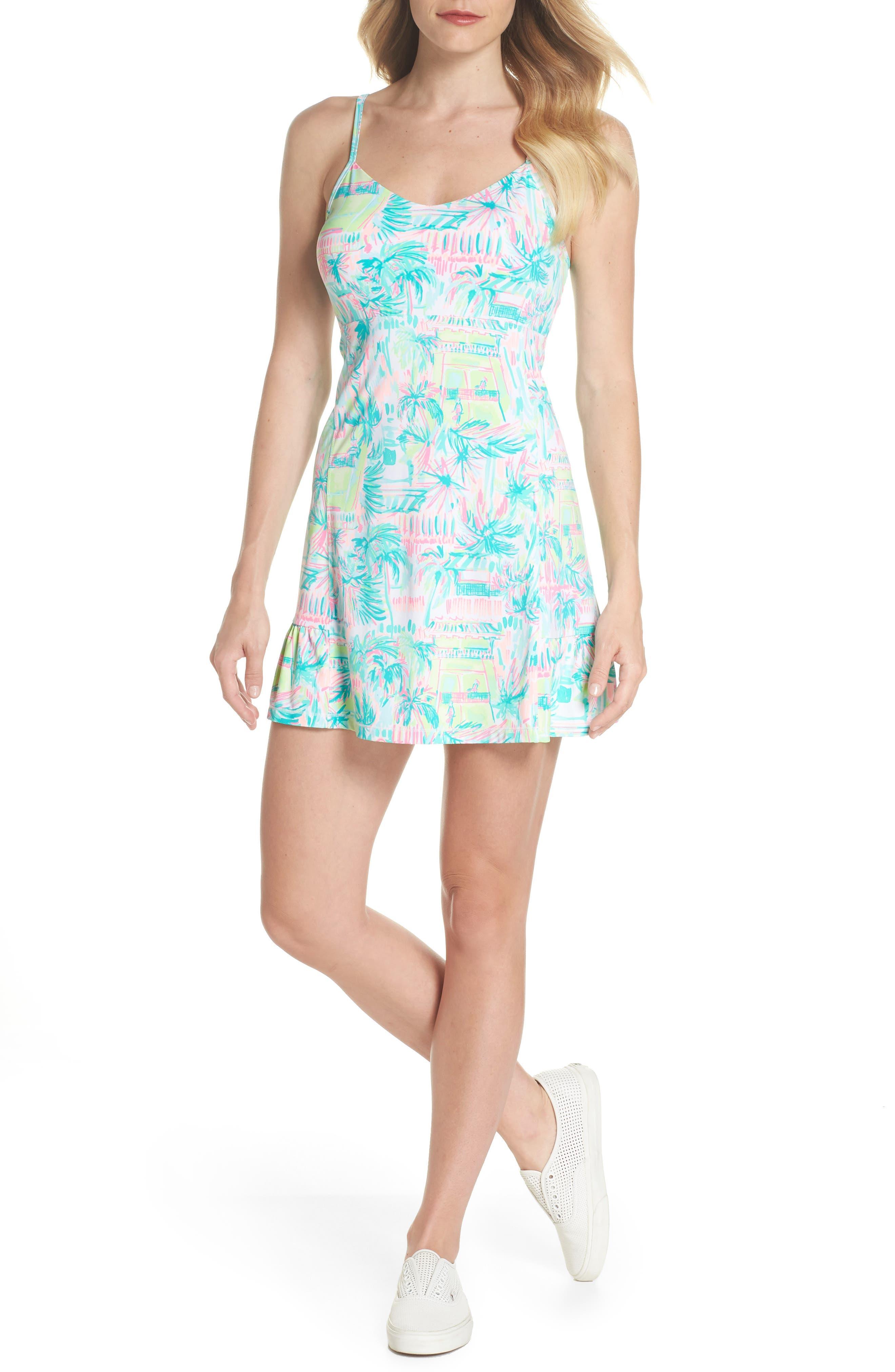 Adelia UPF 50+ Tennis Dress,                             Alternate thumbnail 5, color,                             MULTI PERFECT MATCH