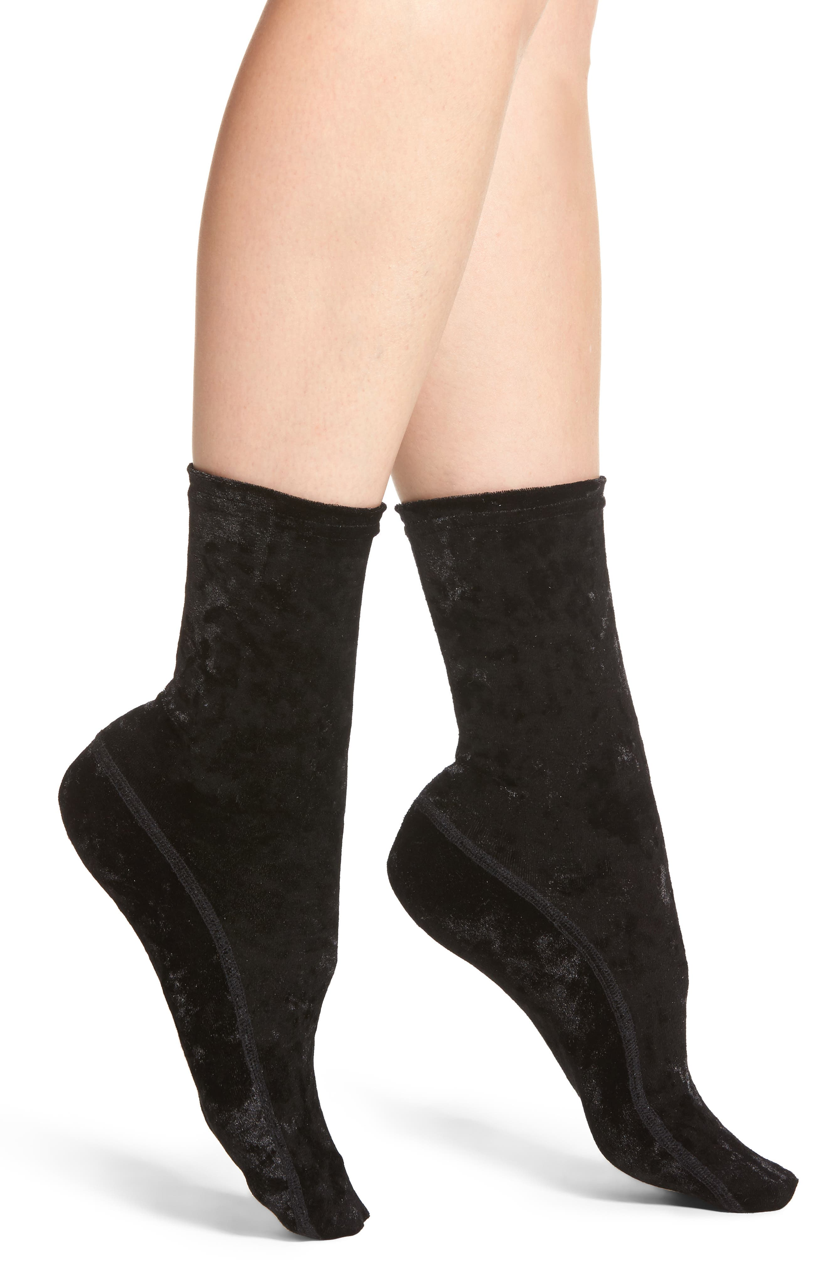 Crushed Velvet Socks,                         Main,                         color, 001