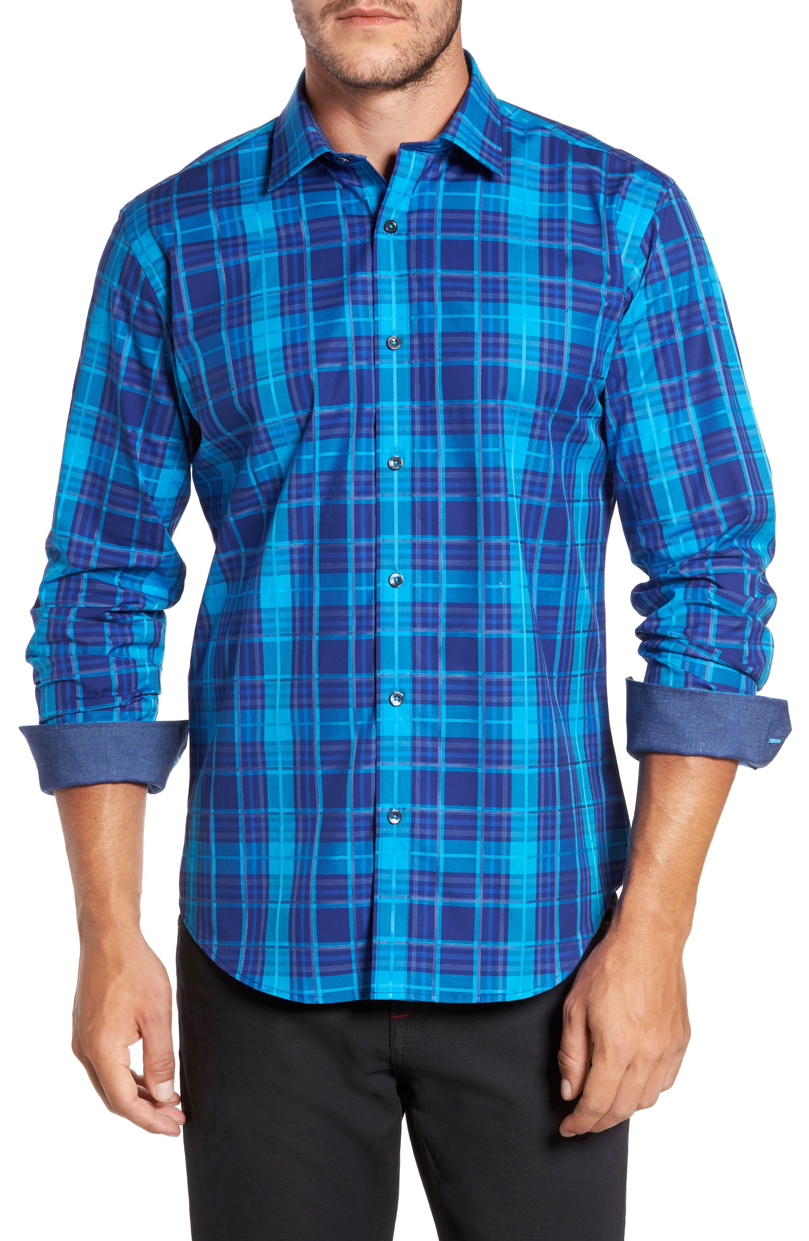Trim Fit Plaid Sport Shirt,                         Main,                         color, 425