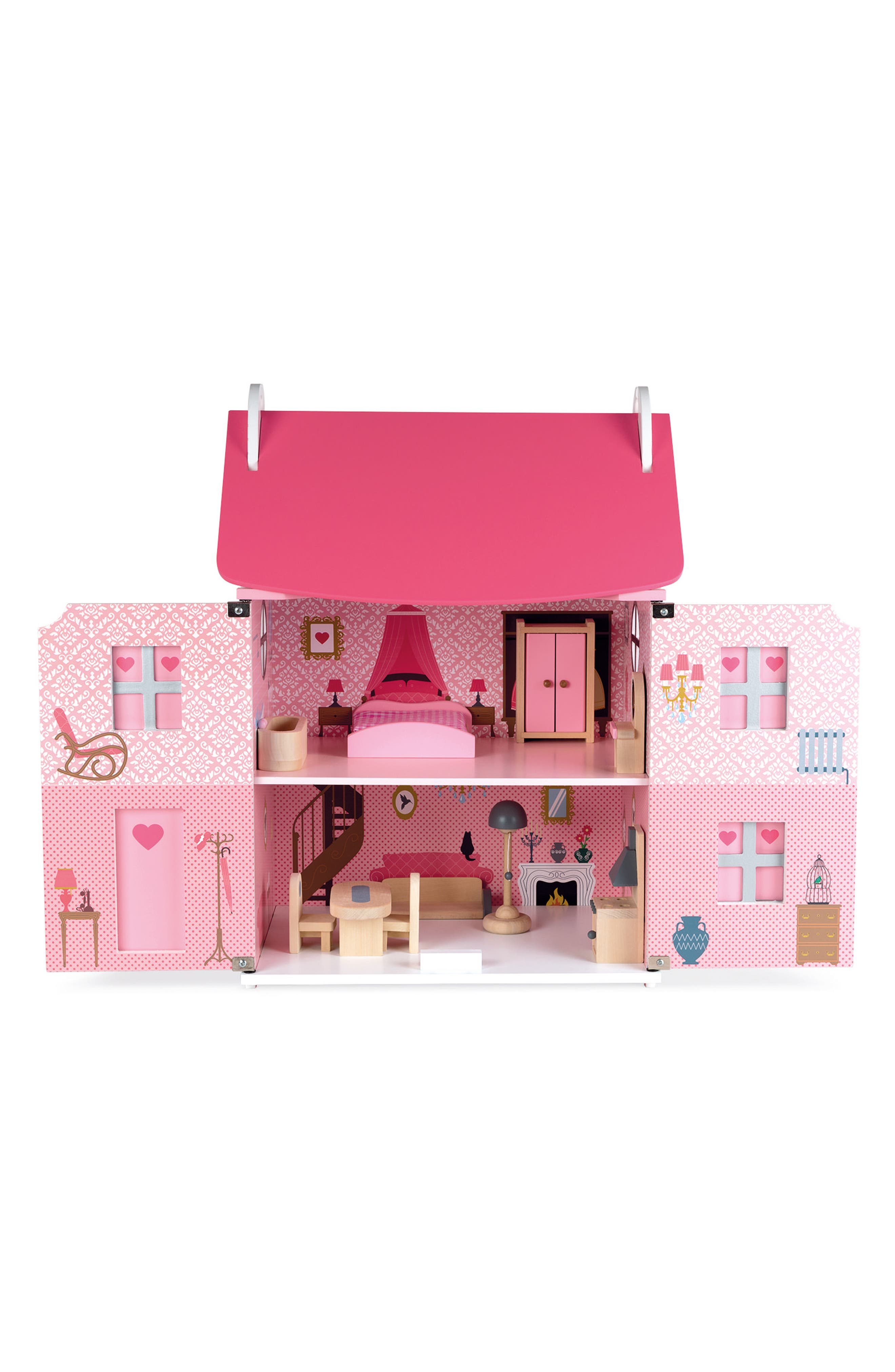 Wood Doll House,                             Alternate thumbnail 2, color,                             PINK