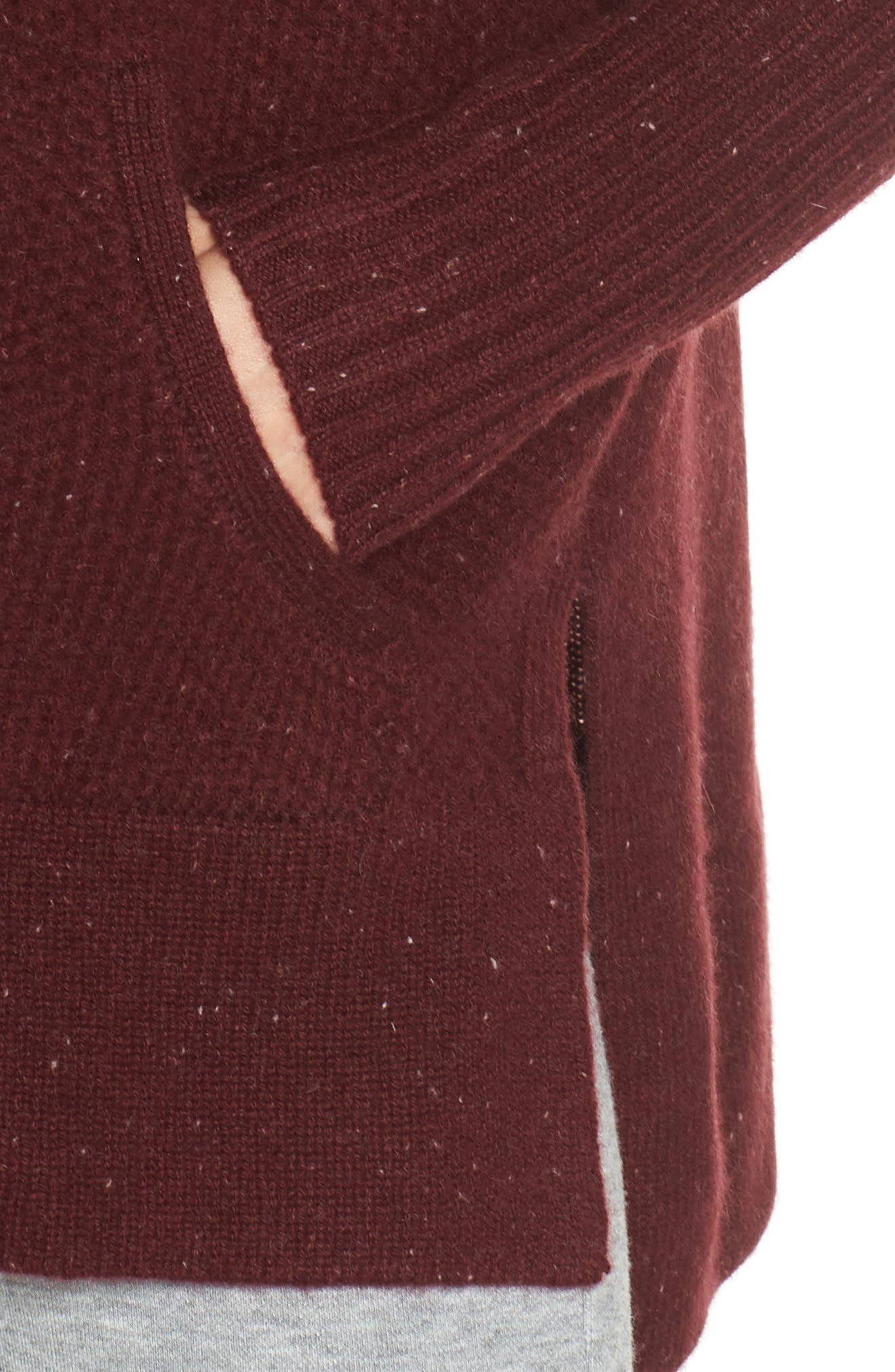 Elyse Cashmere Zip Hoodie,                             Alternate thumbnail 4, color,                             PORT HEATHER