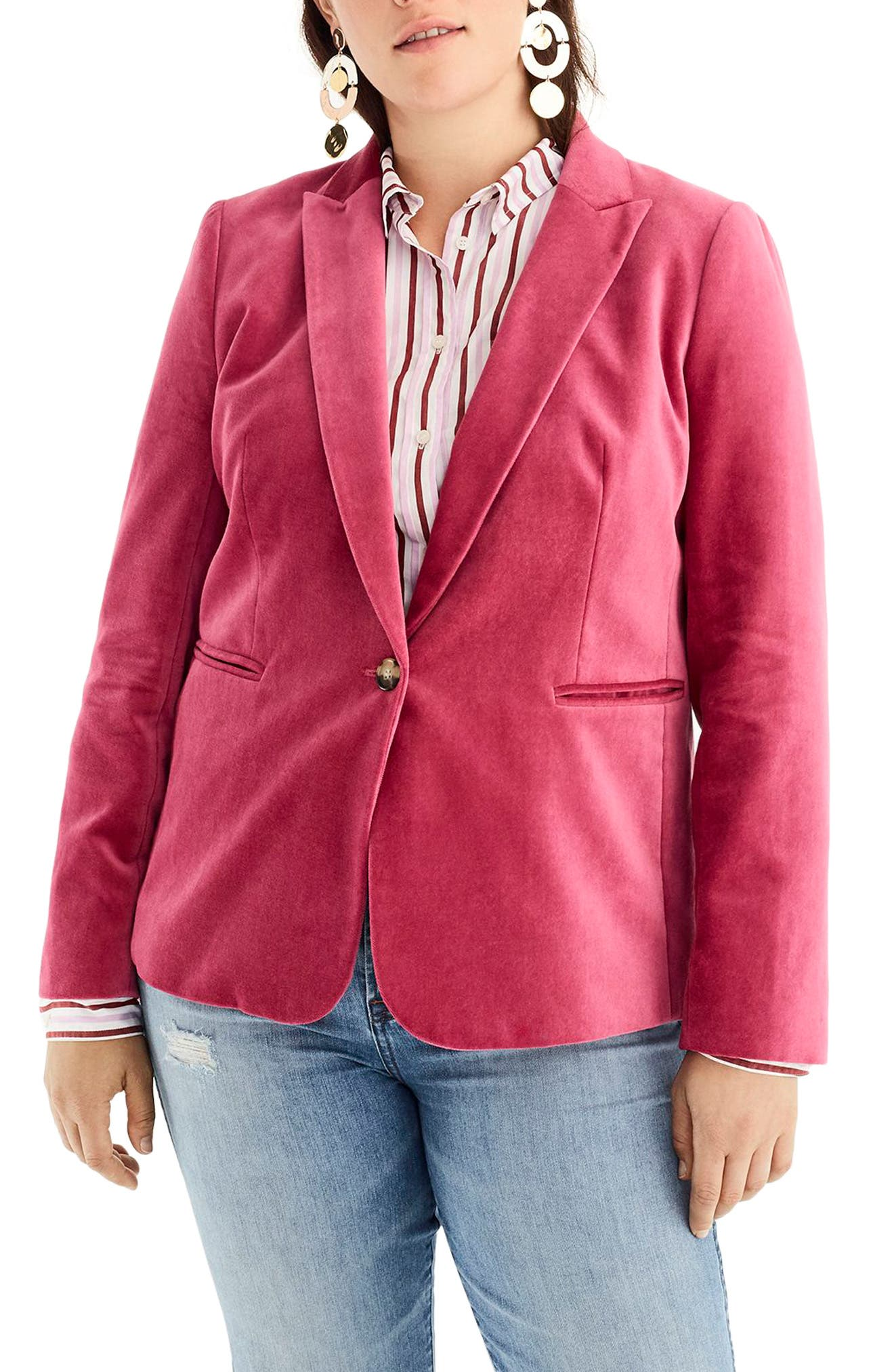 Parke Velvet Blazer,                             Alternate thumbnail 2, color,                             DRIED ROSE
