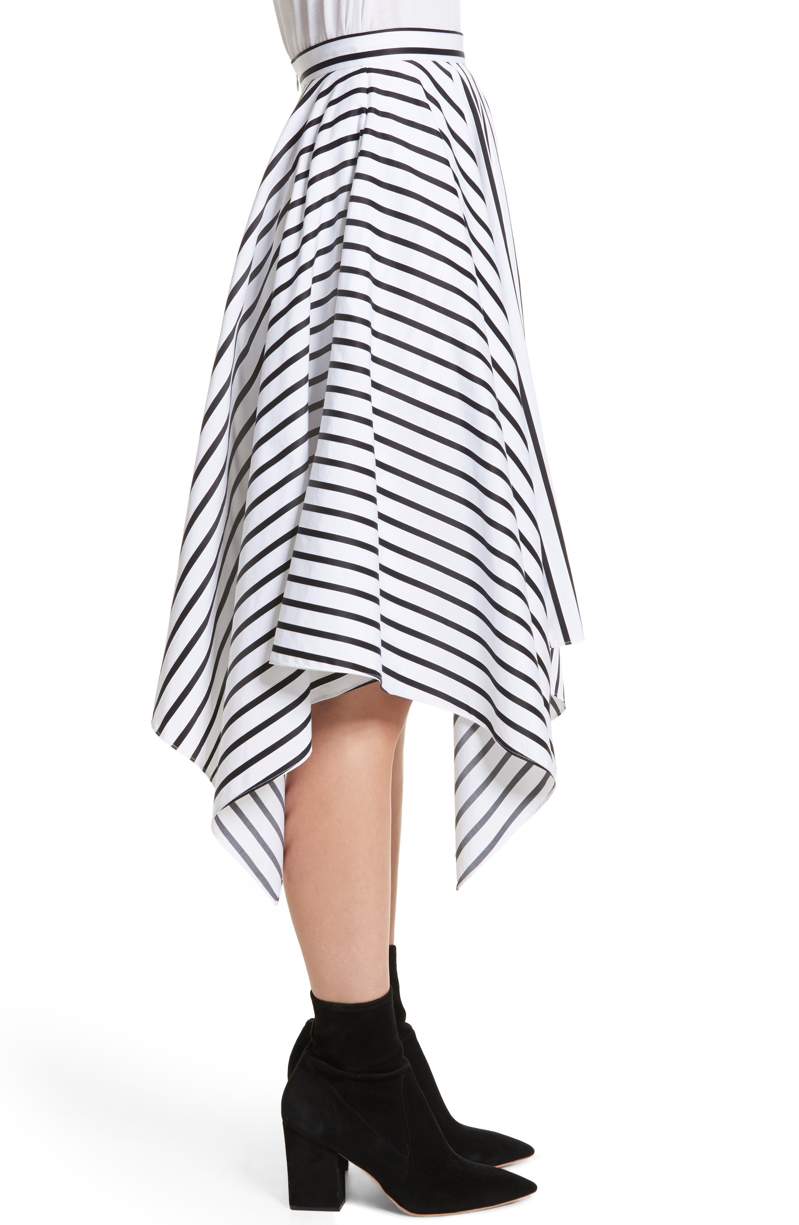 Stripe Cotton Asymmetrical Skirt,                             Alternate thumbnail 3, color,                             001