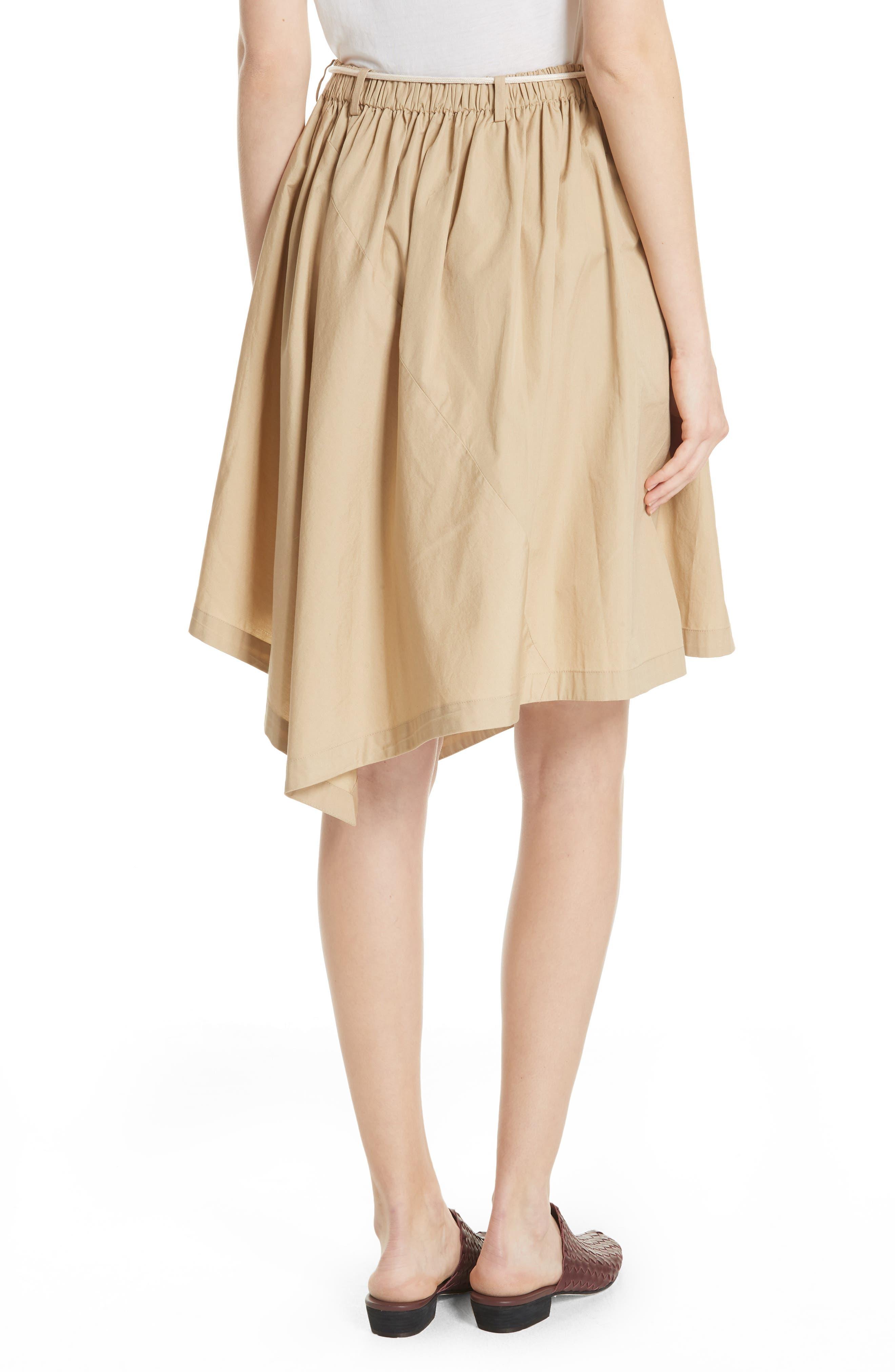 Asymmetrical Drawstring Cotton Skirt,                             Alternate thumbnail 2, color,                             KHAKI