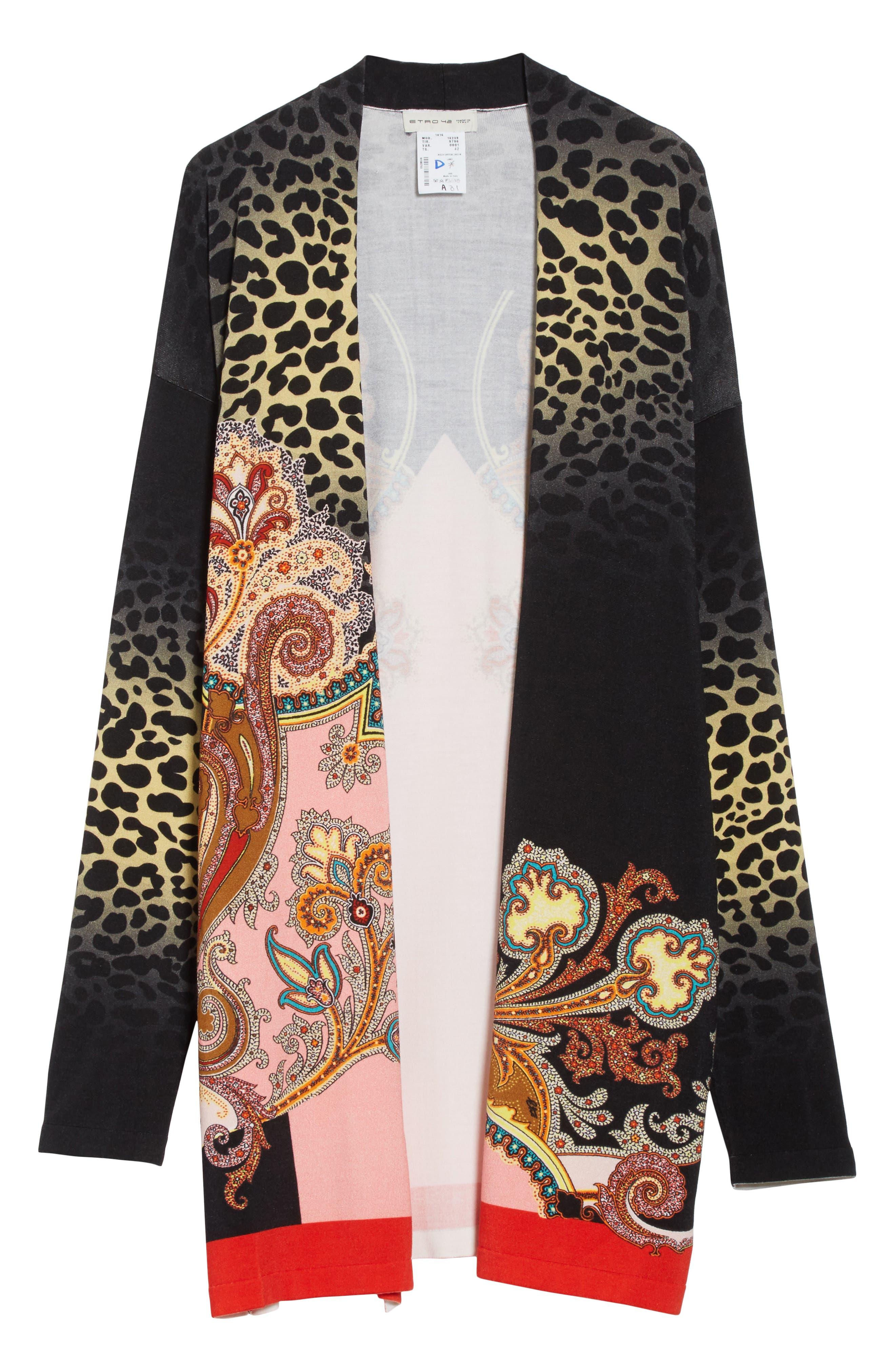 Leopard Paisley Stretch Silk Cardigan,                             Alternate thumbnail 6, color,                             001