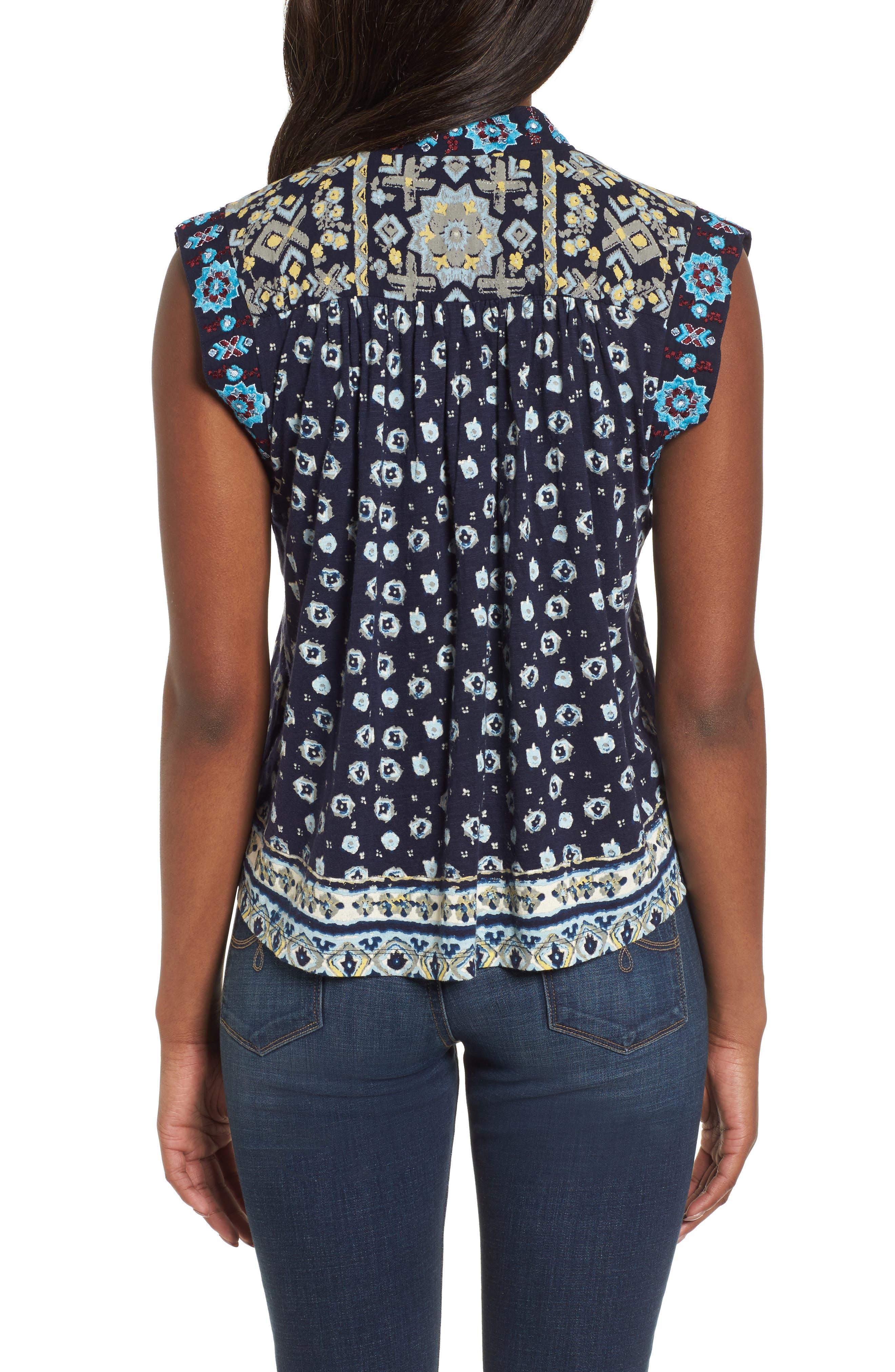 Lace-Up Printed Top,                             Alternate thumbnail 2, color,                             400