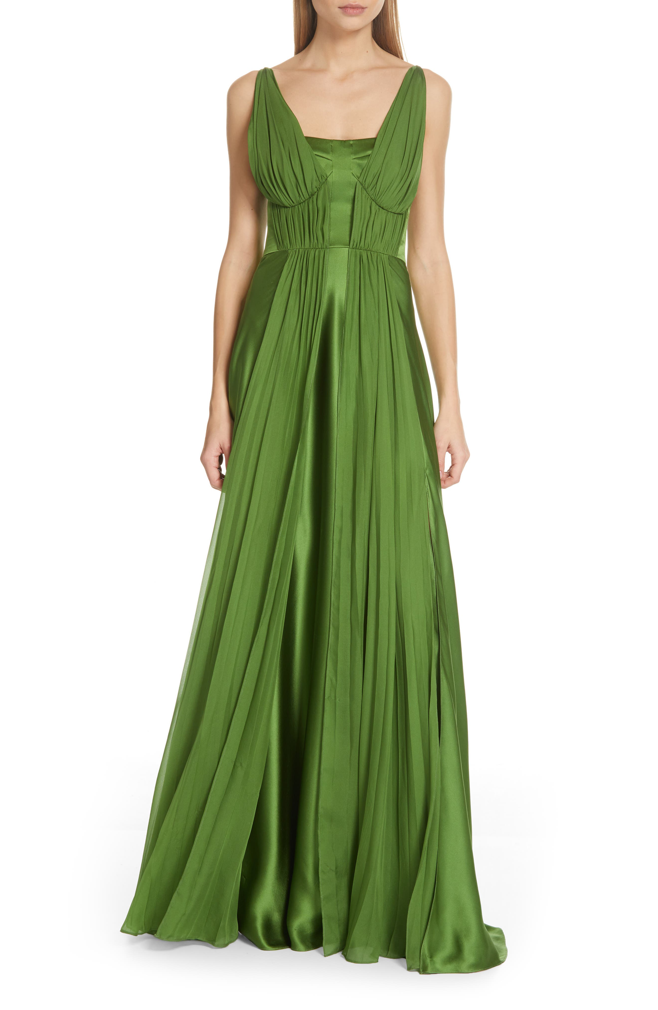 Amur Adele Pleated Silk Dress, Green
