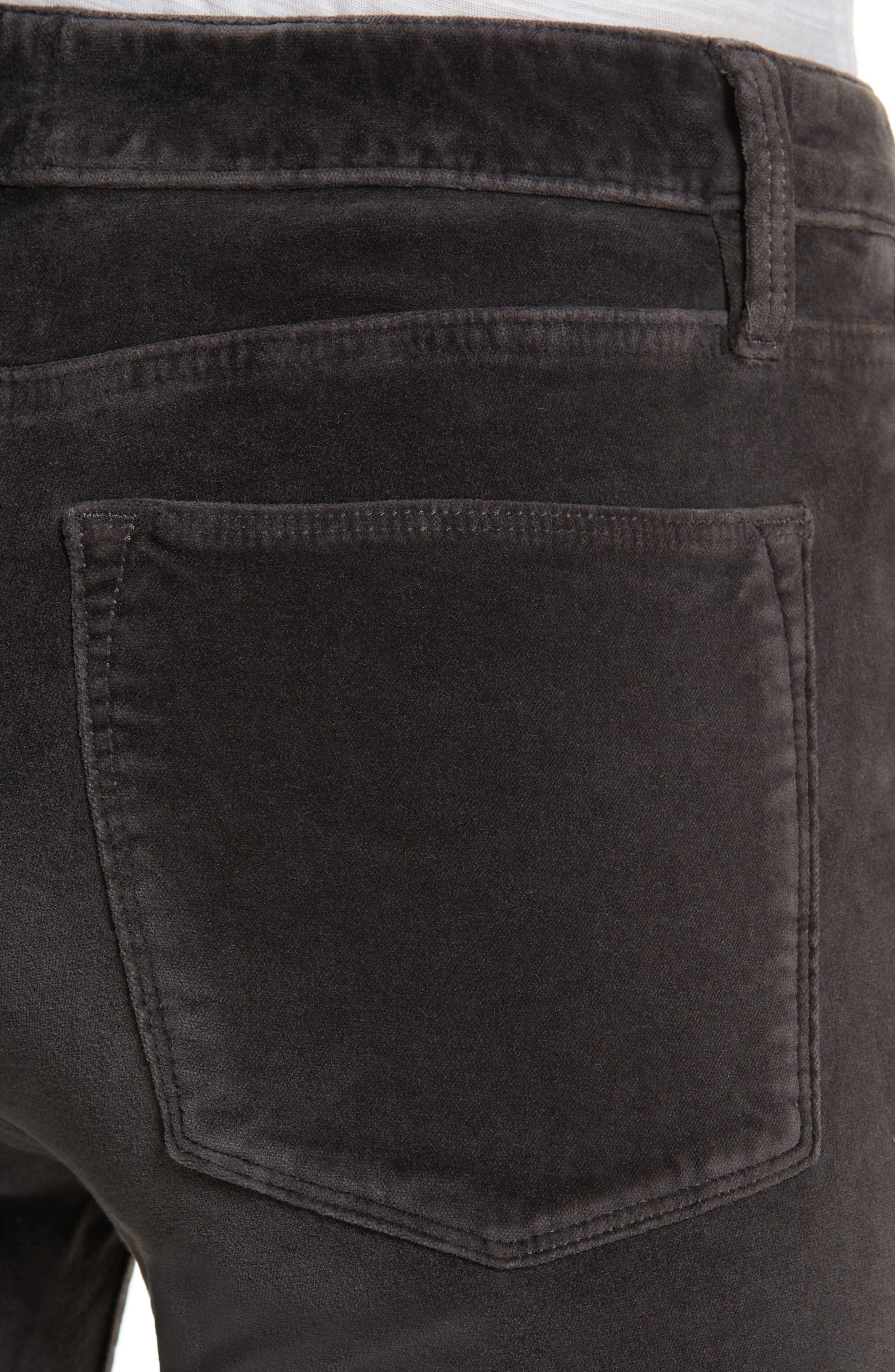 Velveteen High Waist Skinny Pants,                             Alternate thumbnail 4, color,                             021