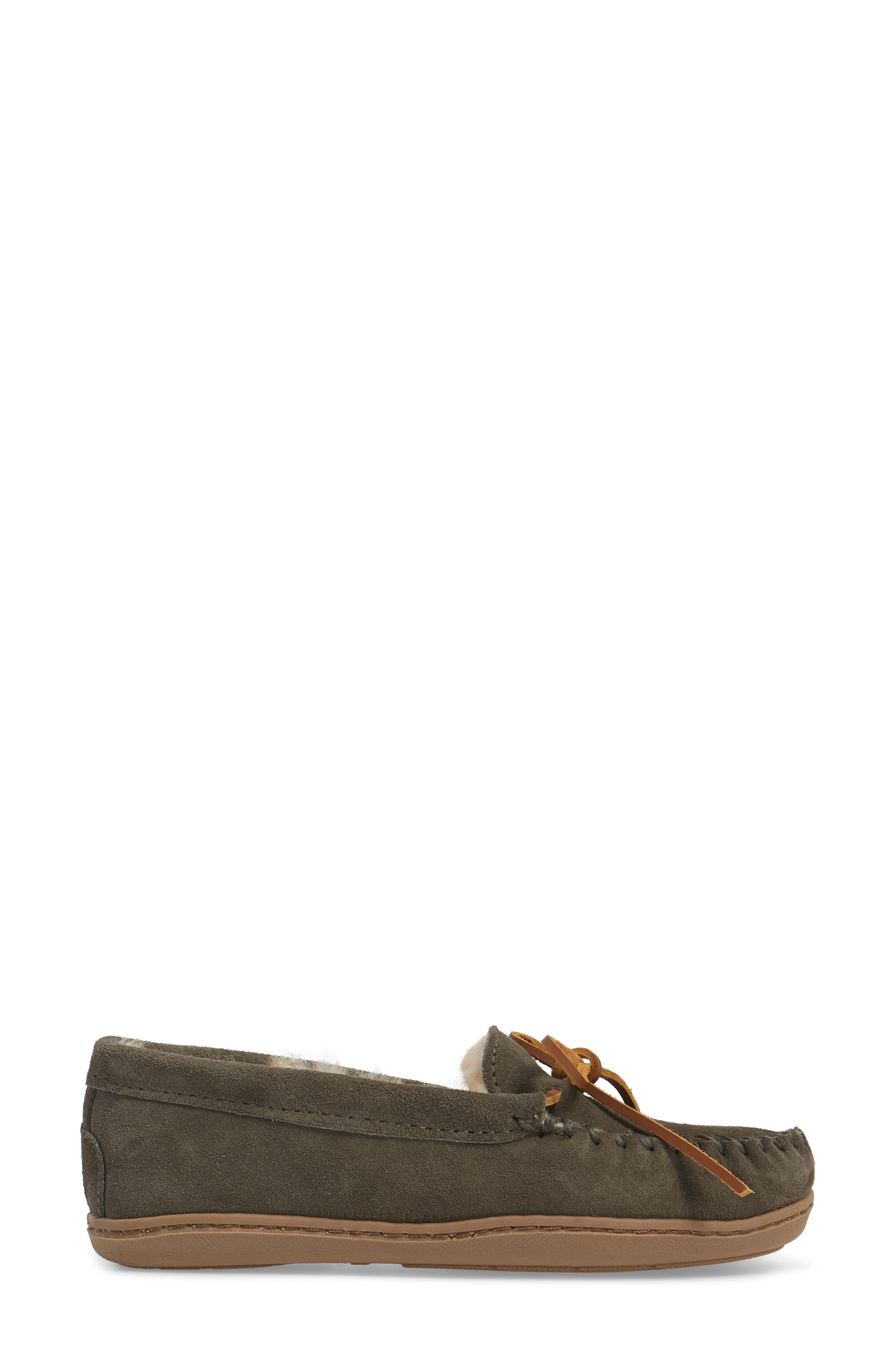 Genuine Shearling Hard Sole Moccasin Indoor/Outdoor Slipper,                             Alternate thumbnail 3, color,                             GREY