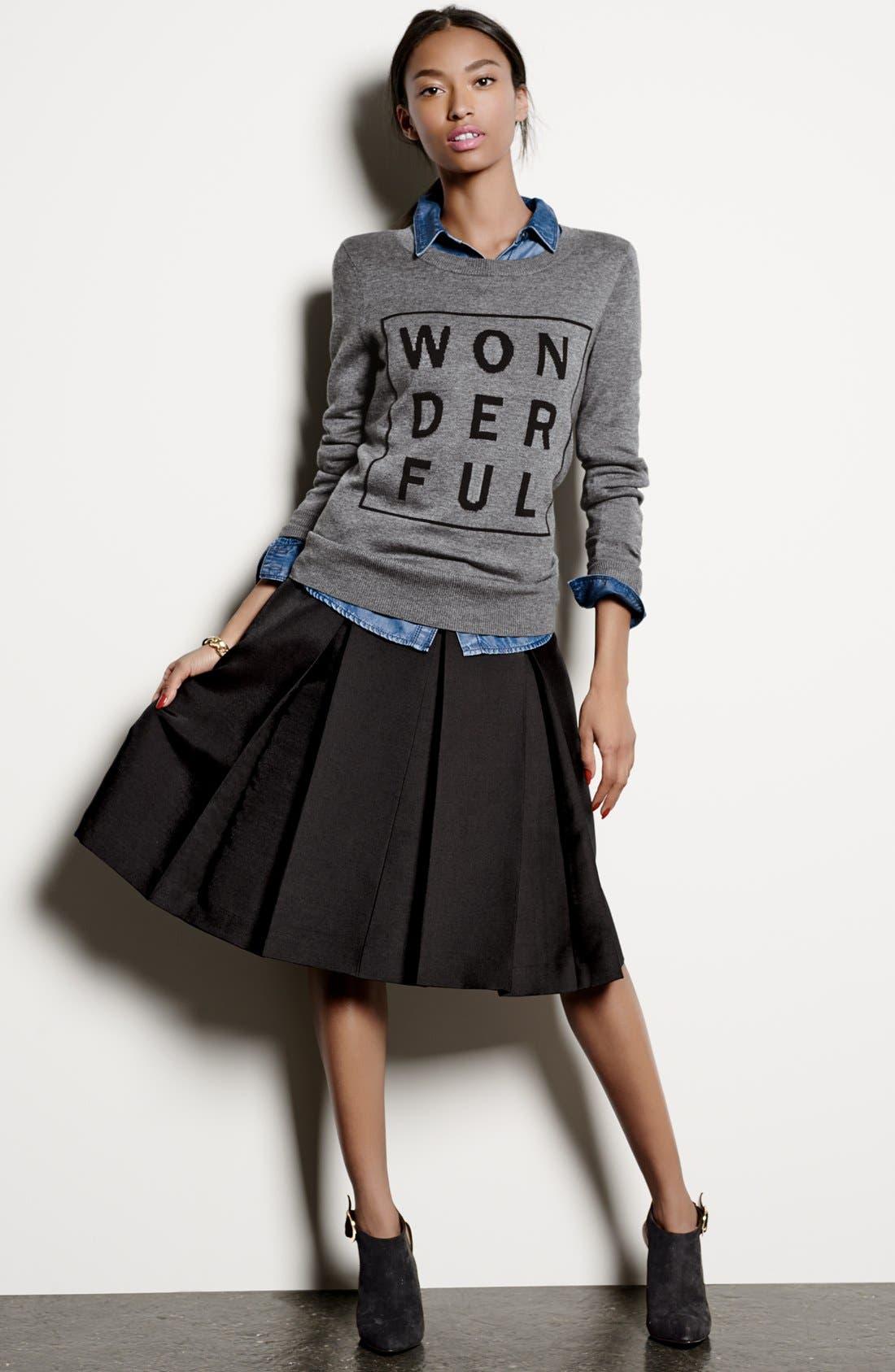 Pleat Midi Skirt,                             Alternate thumbnail 2, color,                             001