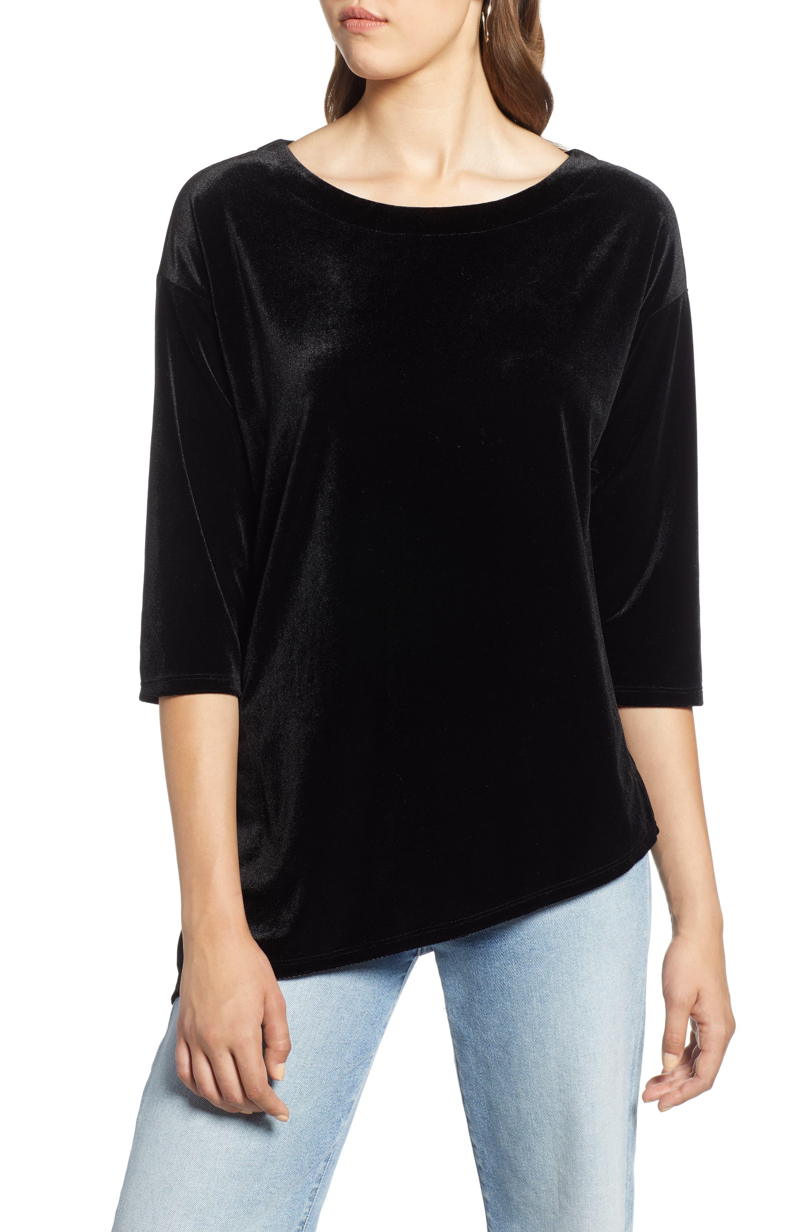 Asymmetrical Velvet Tunic,                         Main,                         color, BLACK