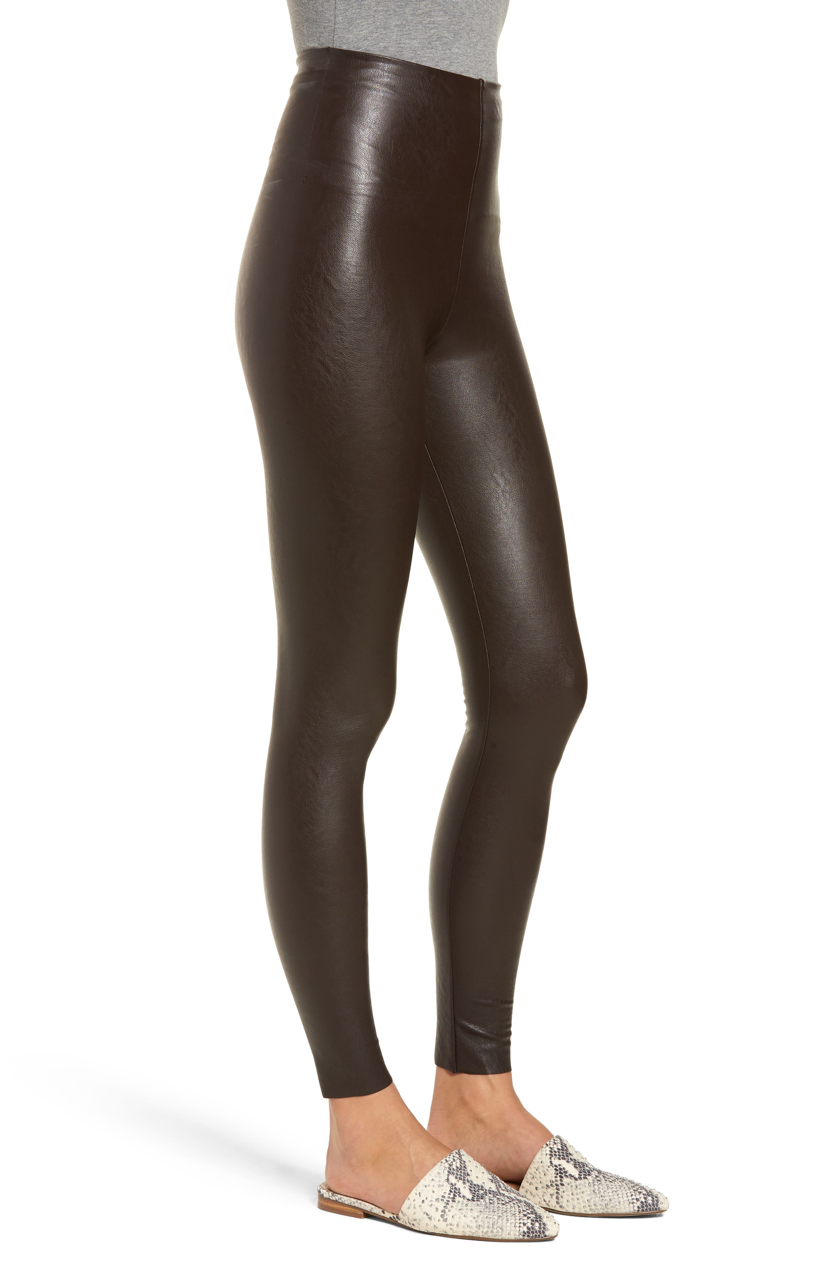 Perfect Control Faux Leather Leggings,                             Alternate thumbnail 3, color,                             201