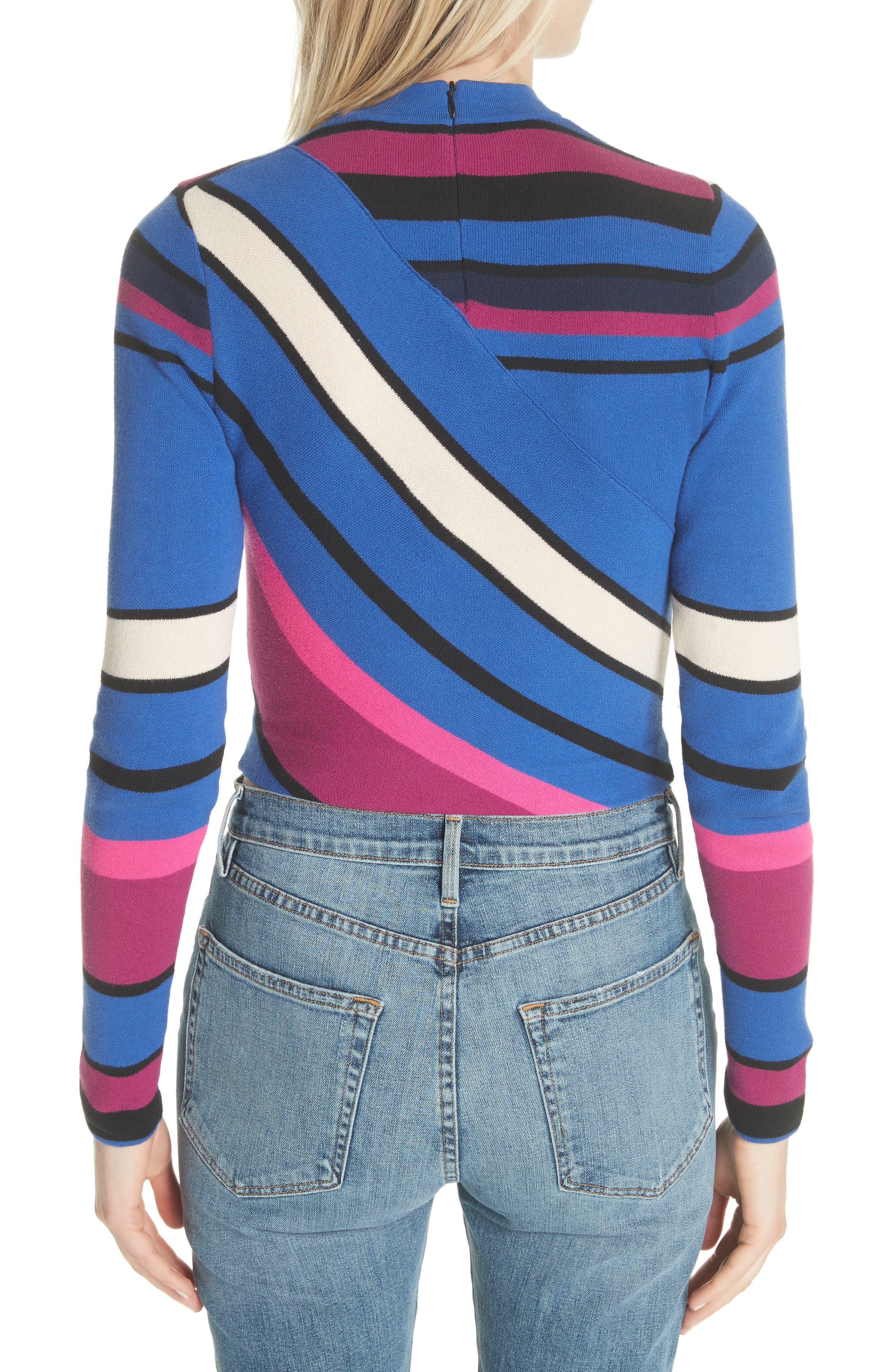 Stripe Crop Cotton Top,                             Alternate thumbnail 2, color,                             498