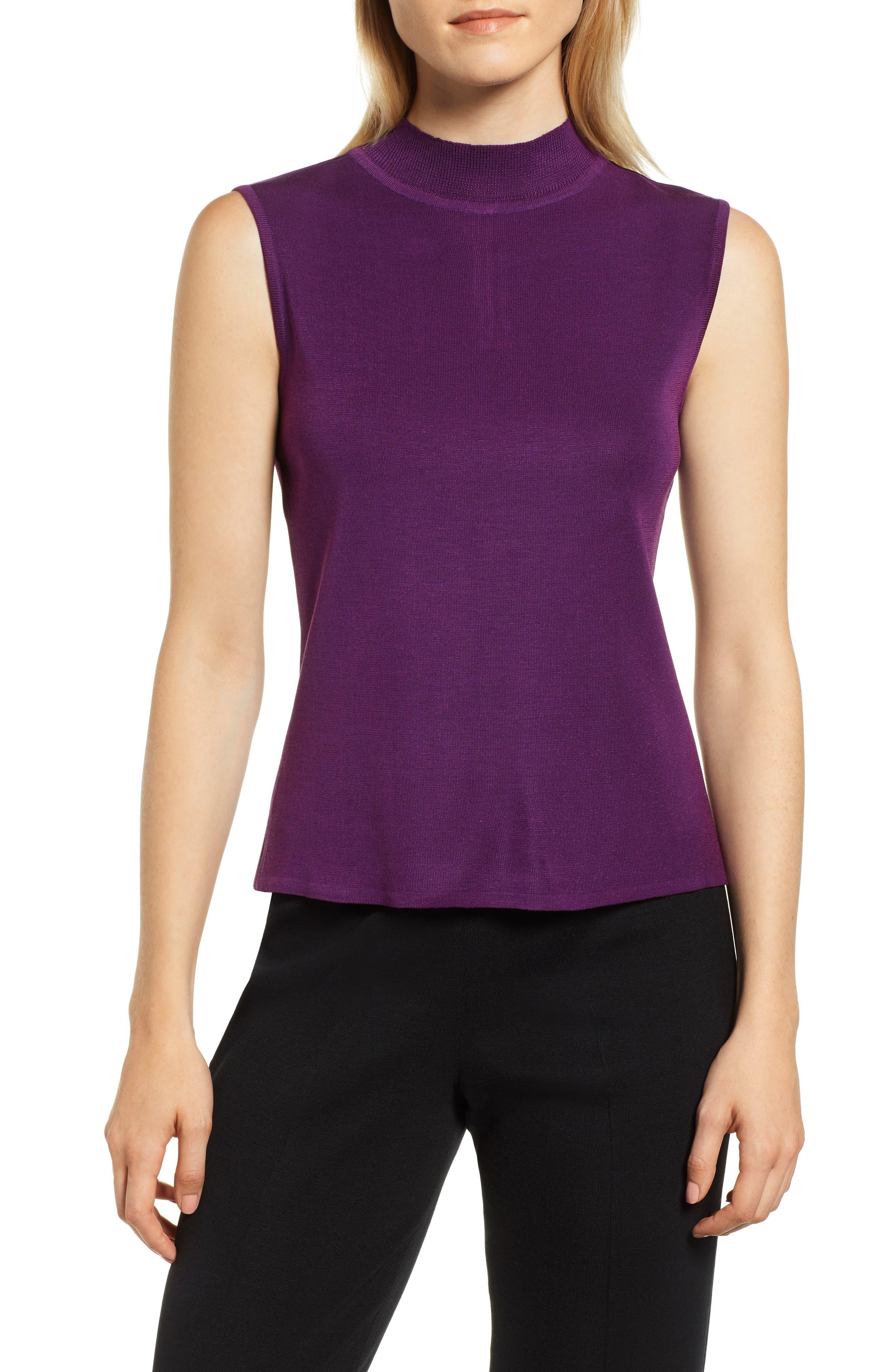 Ming Wang Mock Neck Shell, Purple
