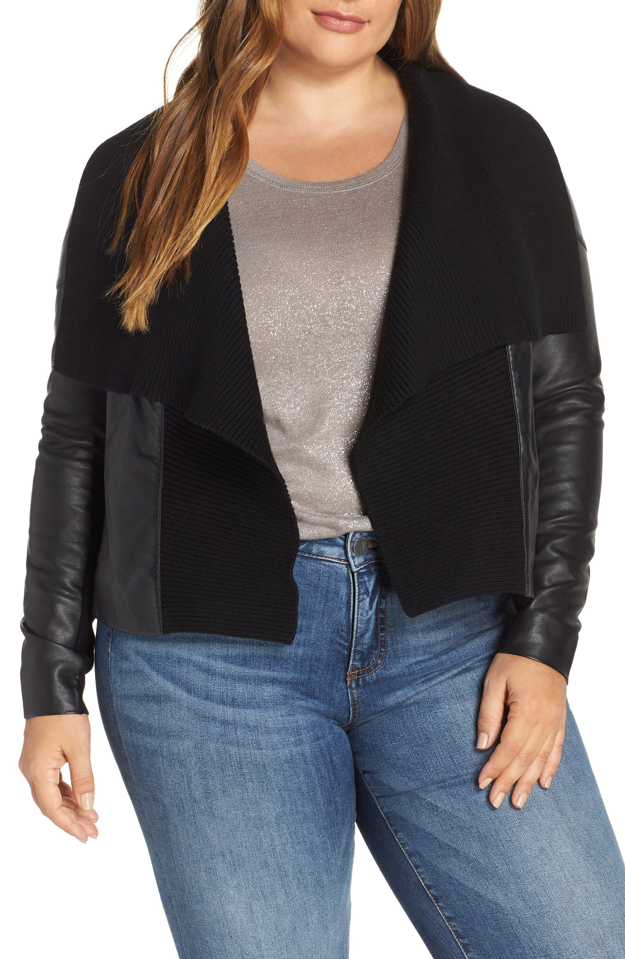 Ribbed Drape Front Faux Leather Jacket,                         Main,                         color, BLACK
