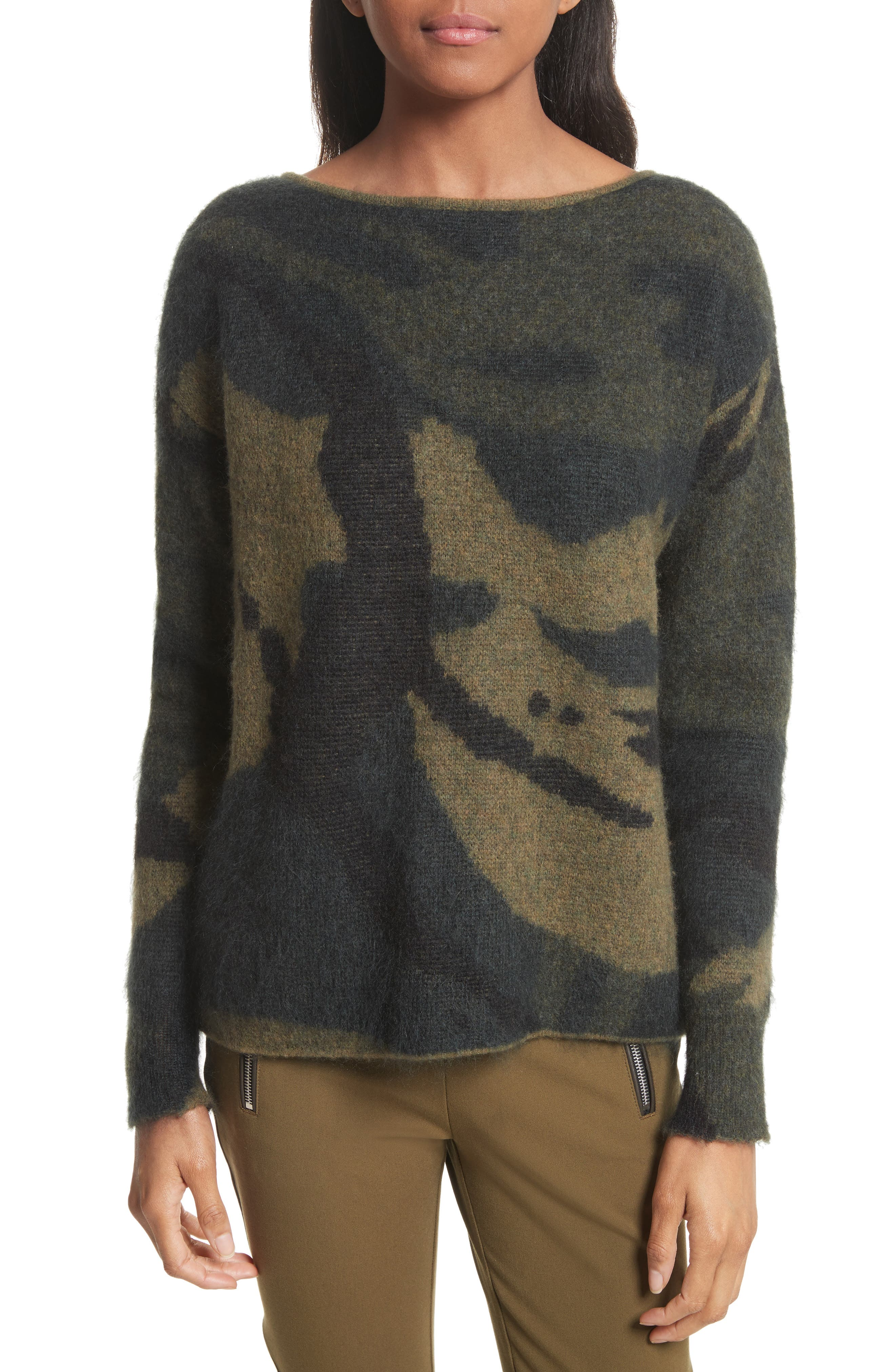 Sinclair Camouflage Jacquard Sweater,                             Main thumbnail 1, color,                             319