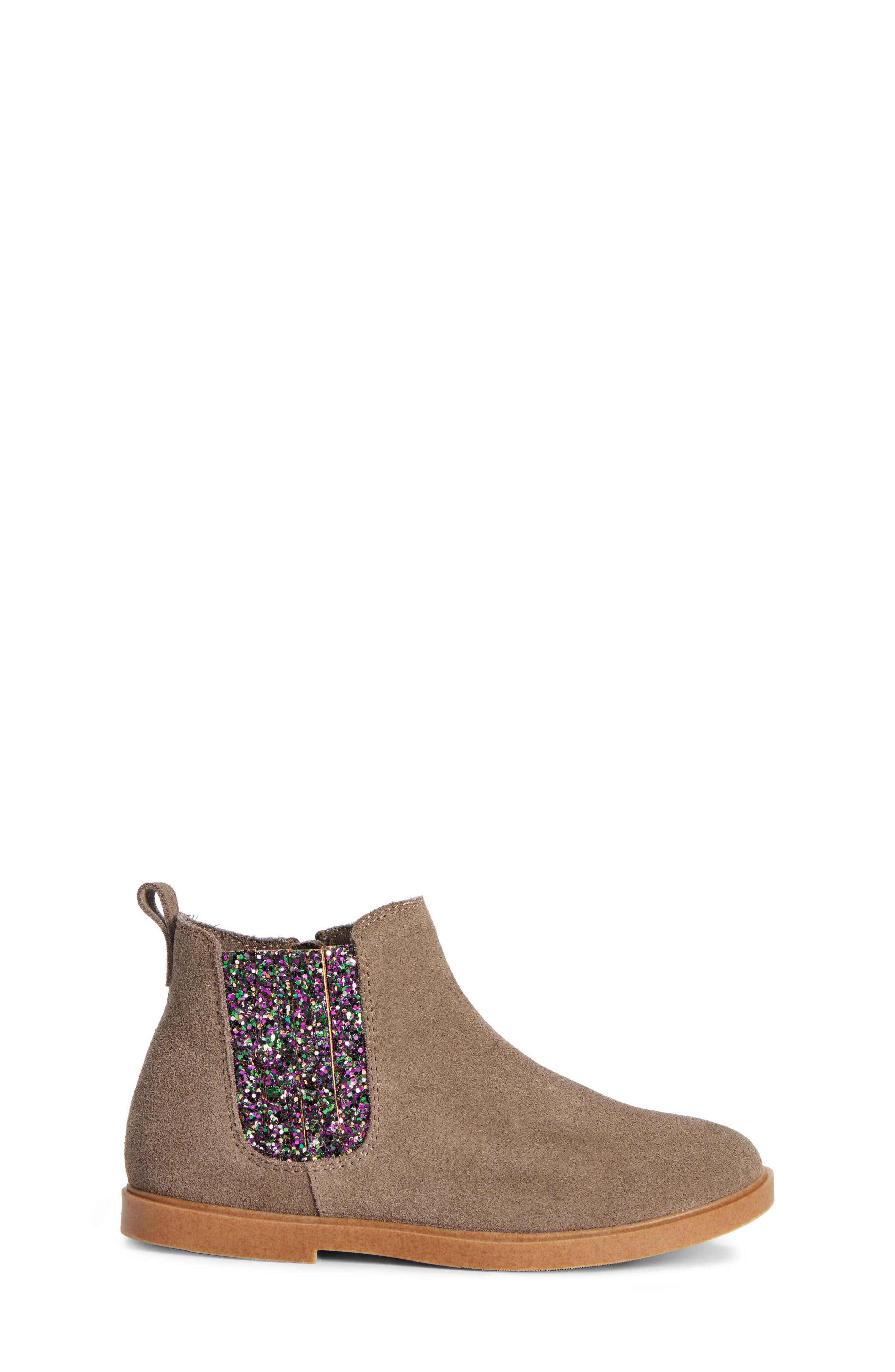 Alice Glitter Chelsea Boot,                             Alternate thumbnail 3, color,                             GREY SUEDE