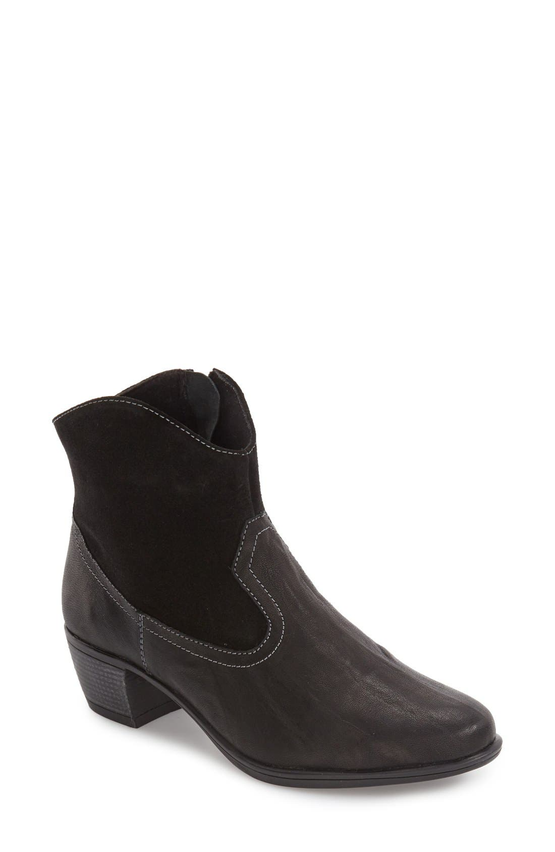 Laramie Bootie,                             Main thumbnail 1, color,                             BLACK LEATHER