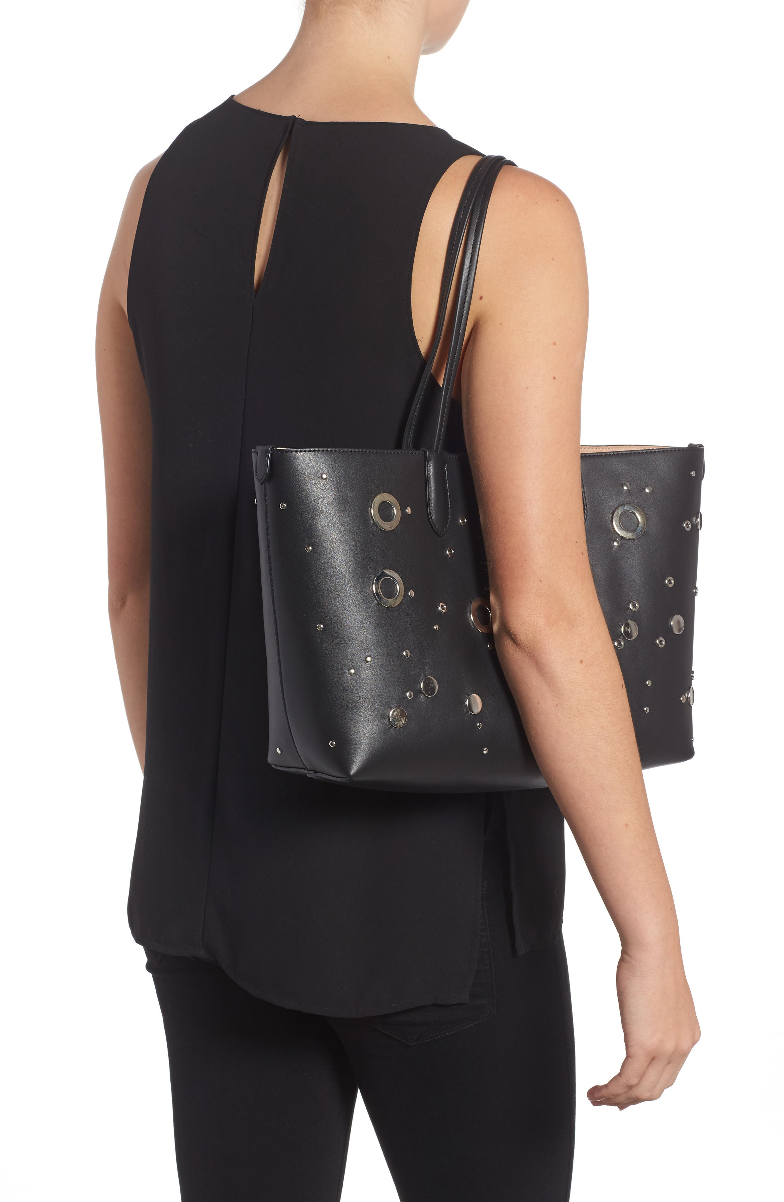 Studded Small Leather Shopper,                             Alternate thumbnail 2, color,                             001
