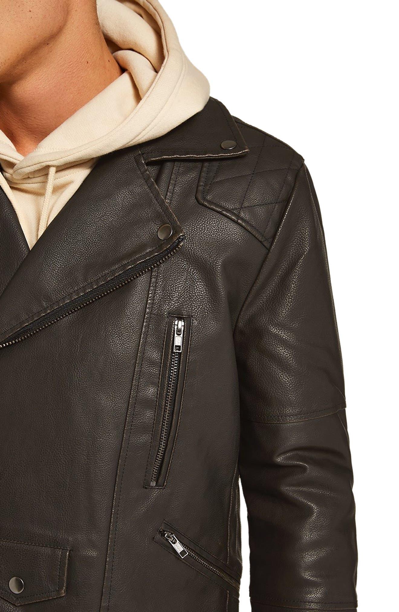 Classic Fit Faux Leather Biker Jacket,                             Alternate thumbnail 3, color,                             BLACK