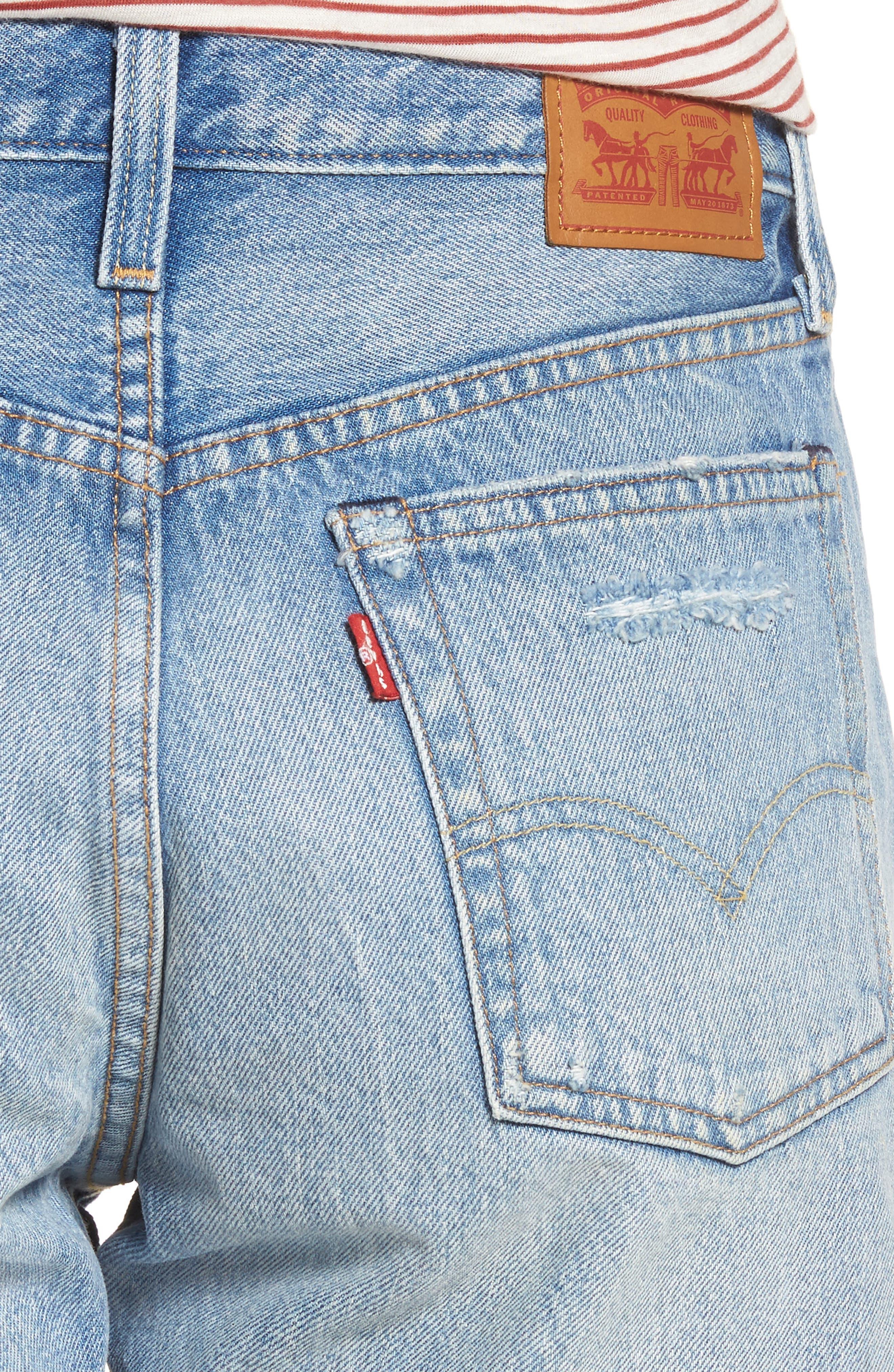 Indie Shredded Cutoff Denim Shorts,                             Alternate thumbnail 4, color,                             450
