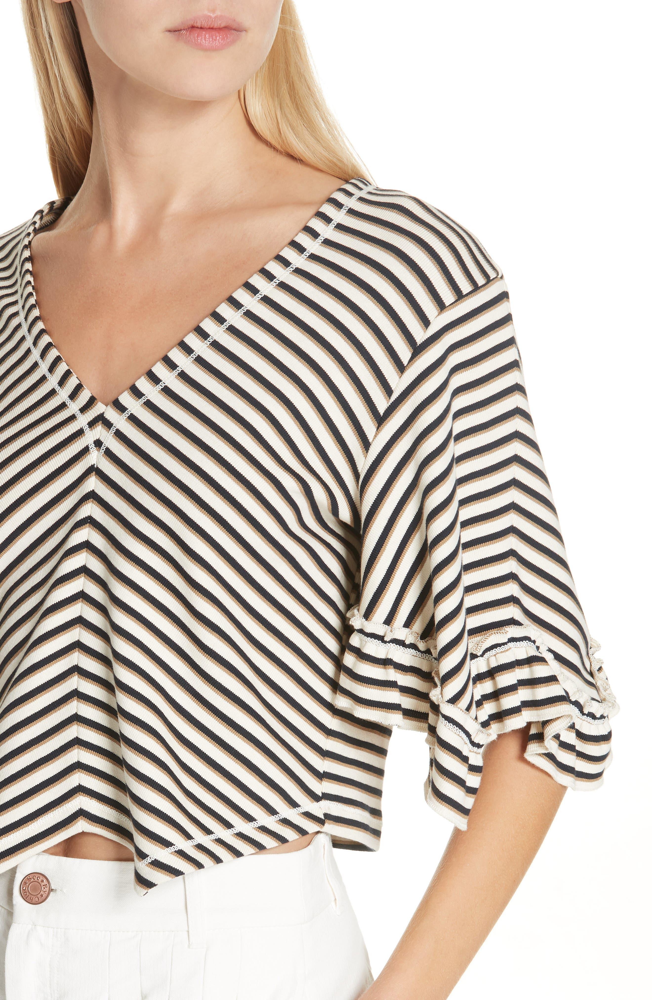 Stripe Top,                             Alternate thumbnail 4, color,                             WHITE - BEIGE 1