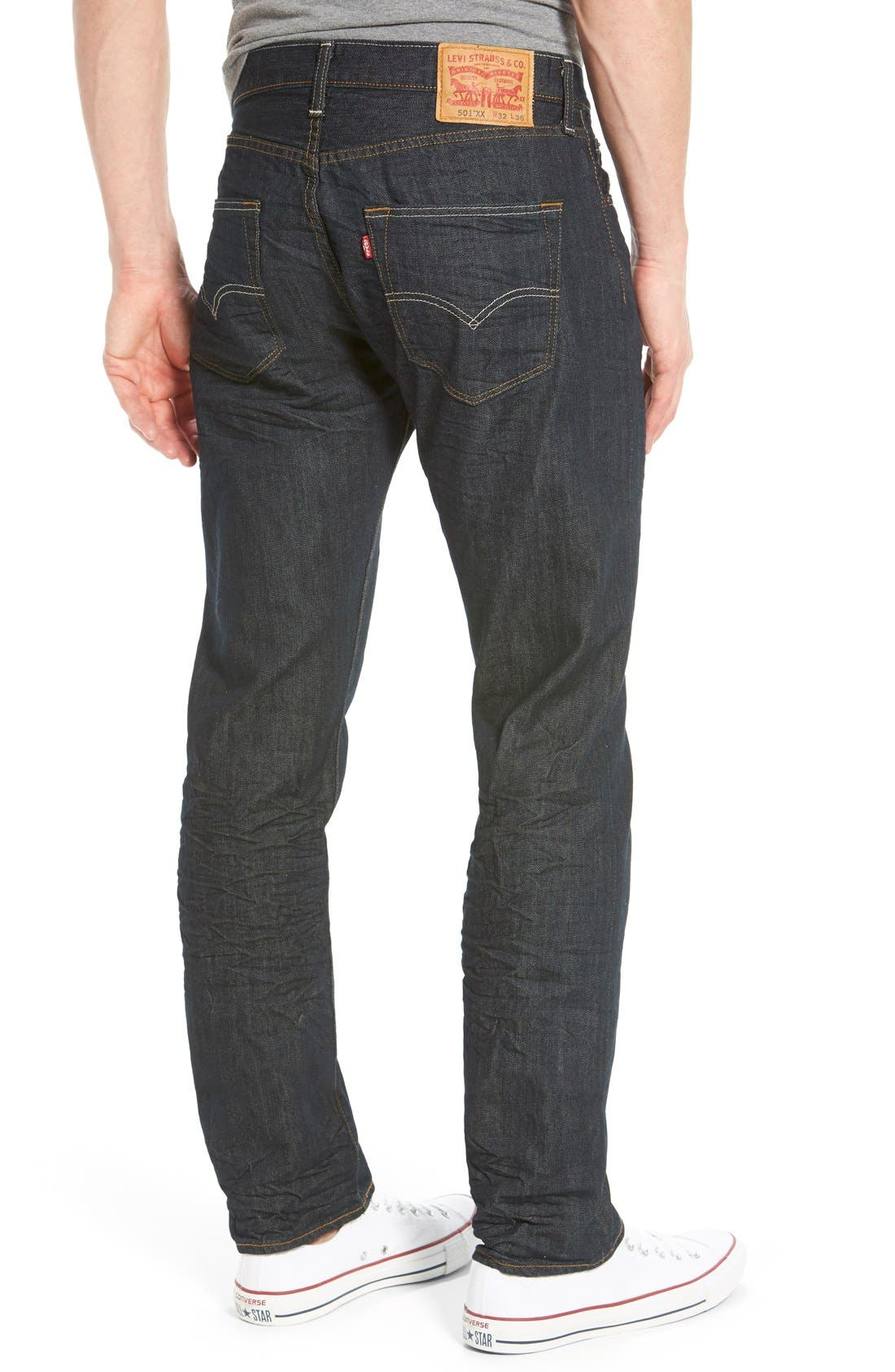 Red Tab<sup>™</sup> '501<sup>®</sup>' Straight Leg Jeans,                             Alternate thumbnail 6, color,                             DIMENSIONAL RIGID BLUE