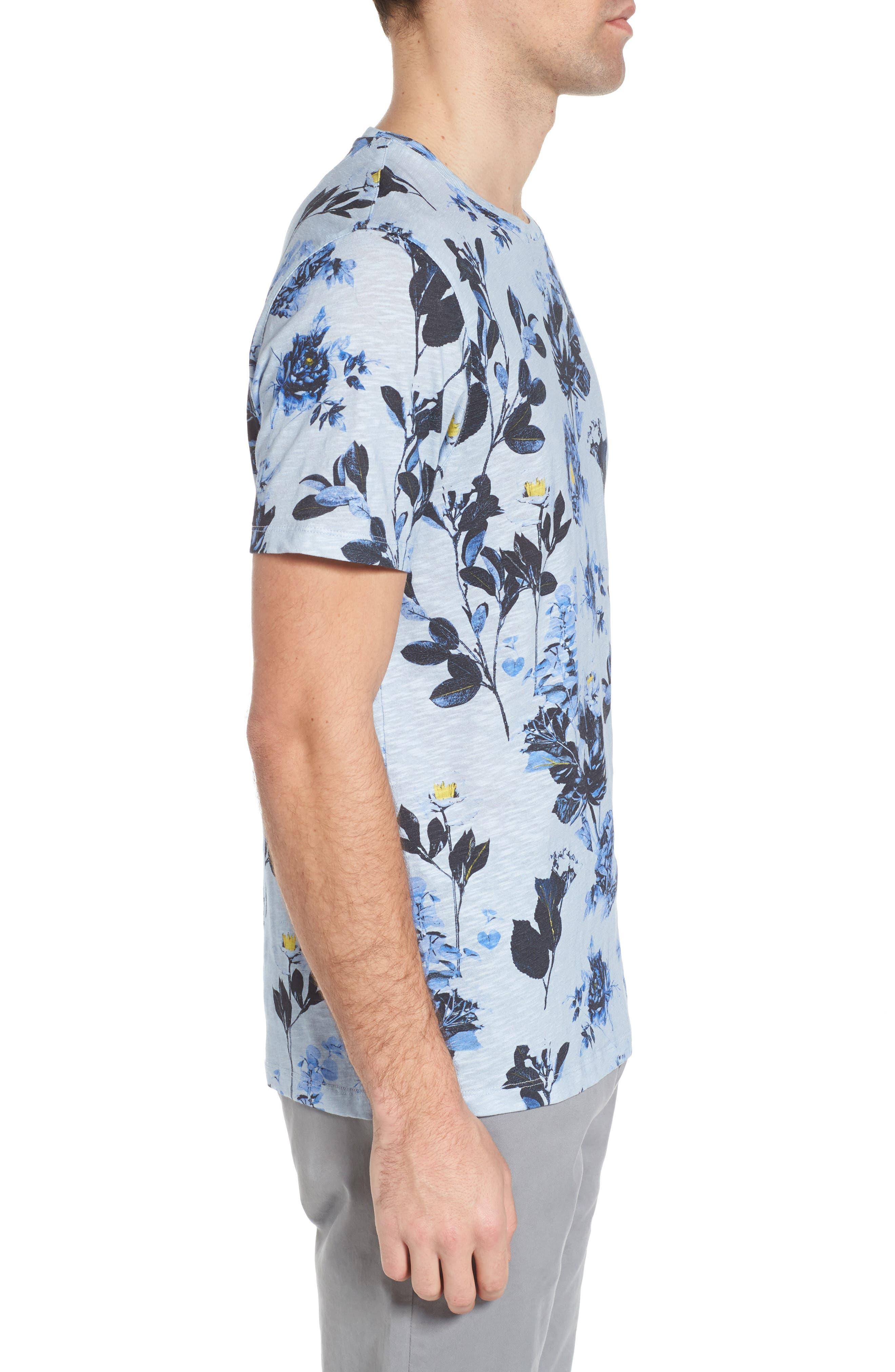 Doberma Trim Fit Floral Print T-Shirt,                             Alternate thumbnail 6, color,