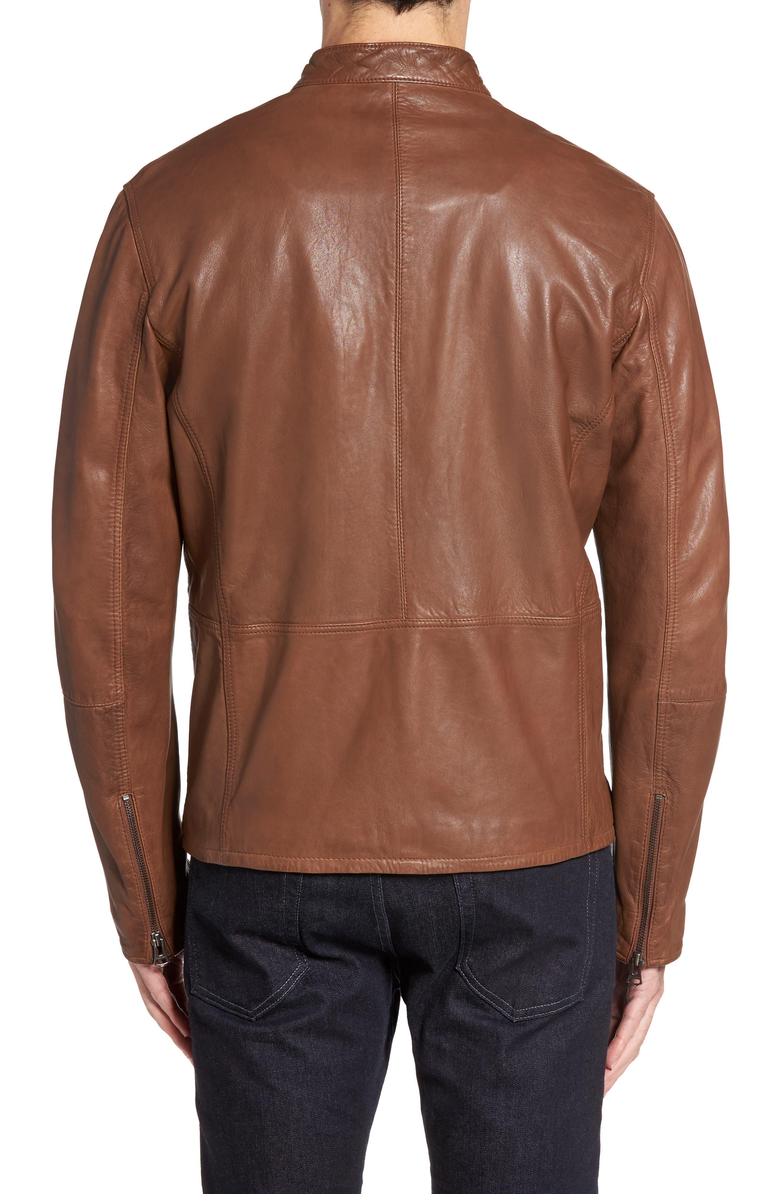 Washed Lamb Leather Moto Jacket,                             Alternate thumbnail 3, color,
