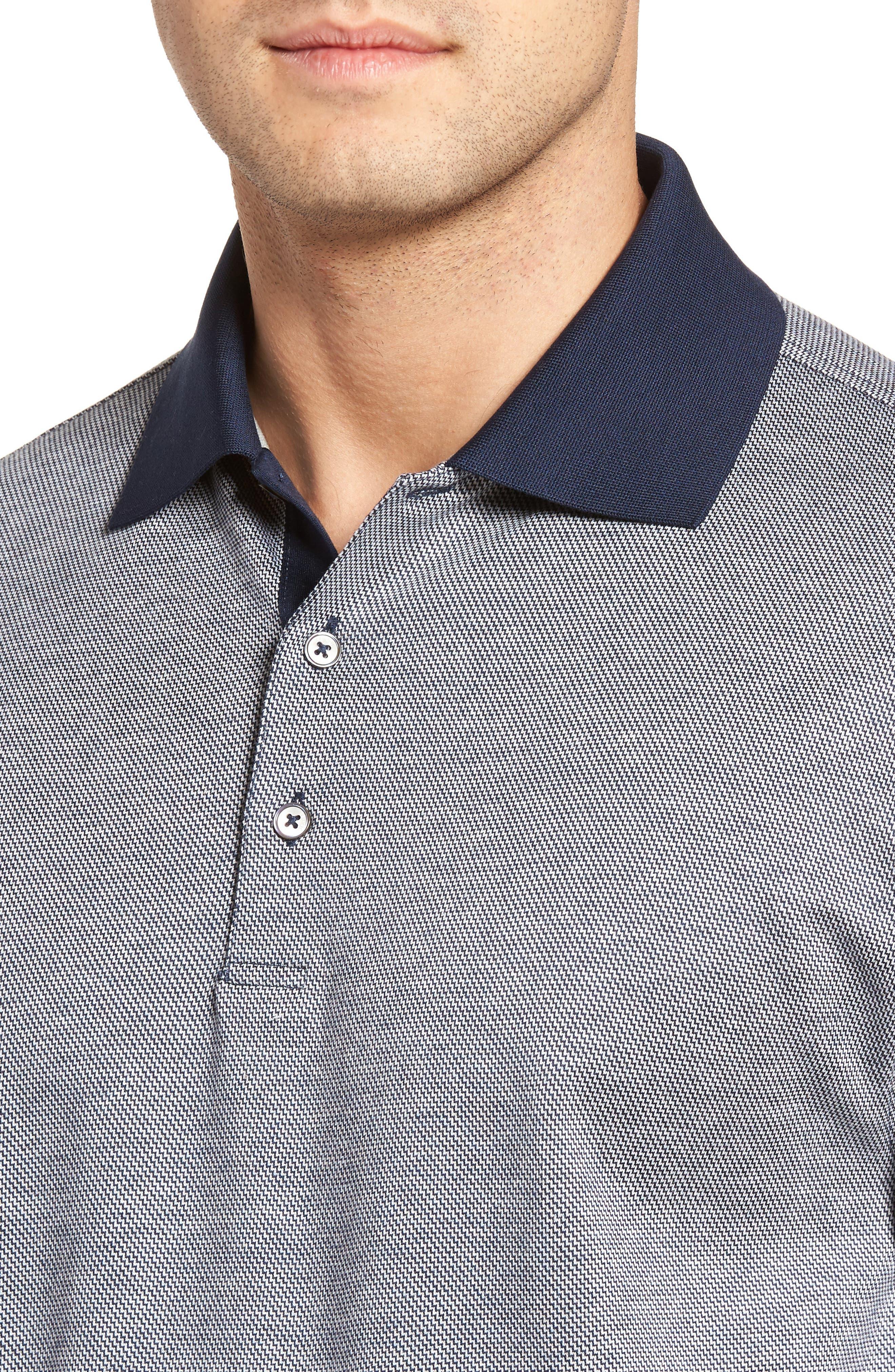 Verde Jacquard Mercerized Cotton Polo,                             Alternate thumbnail 4, color,                             400