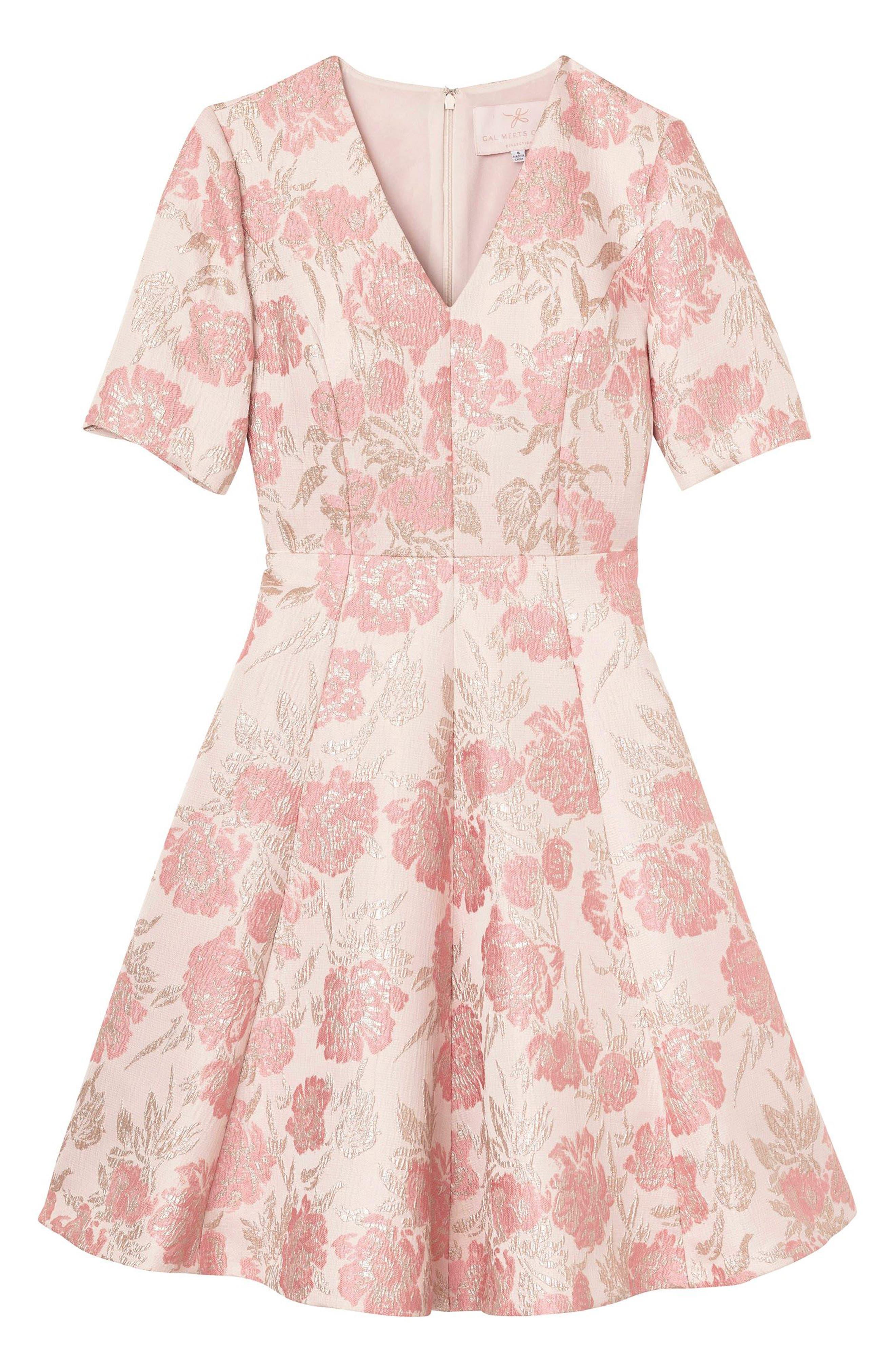 Adair Pink Passion Rose Jacquard Fit & Flare Dress,                             Alternate thumbnail 7, color,                             PINK PEARL