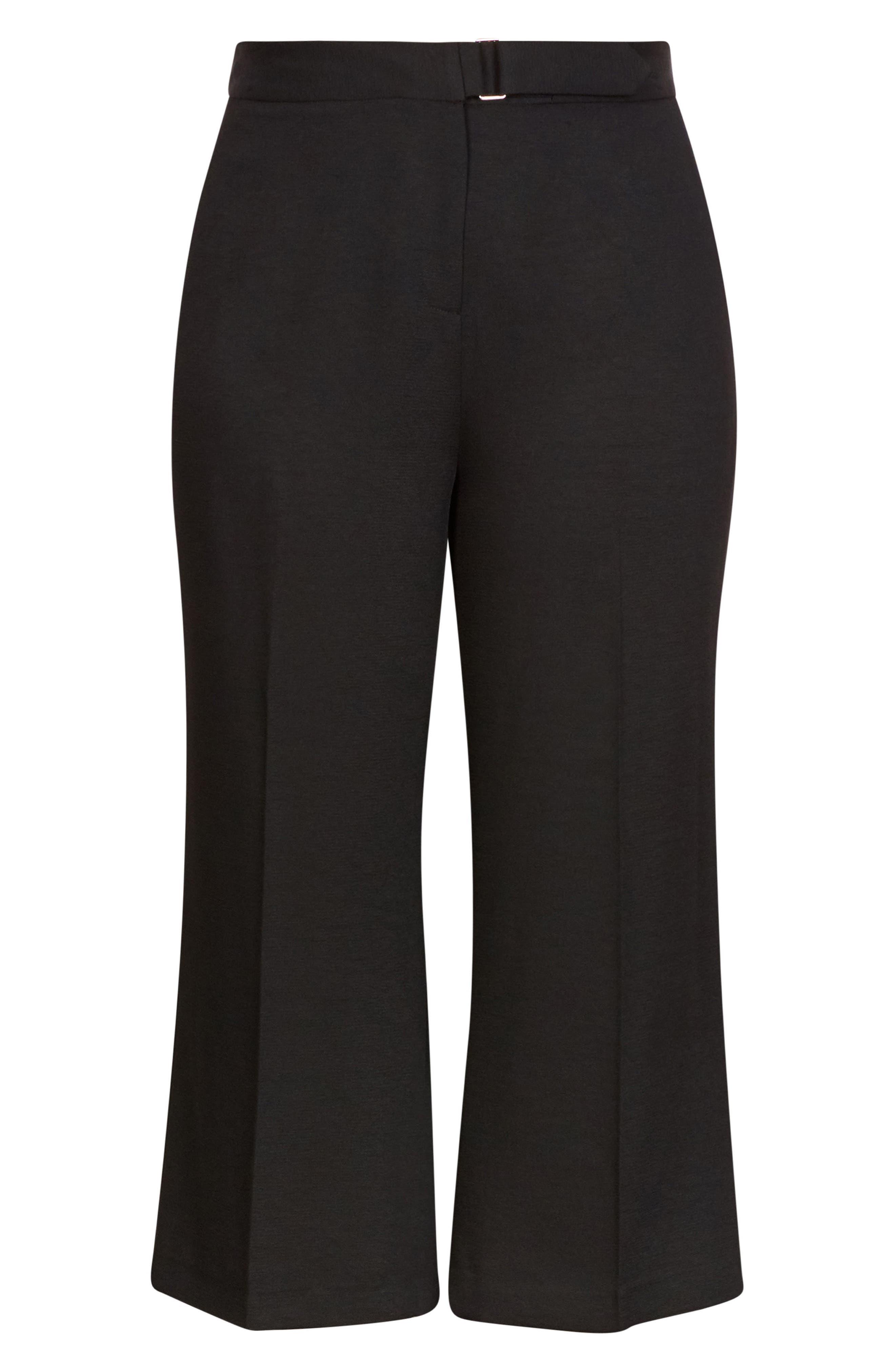 Elegant Belted Culottes,                             Alternate thumbnail 7, color,                             BLACK