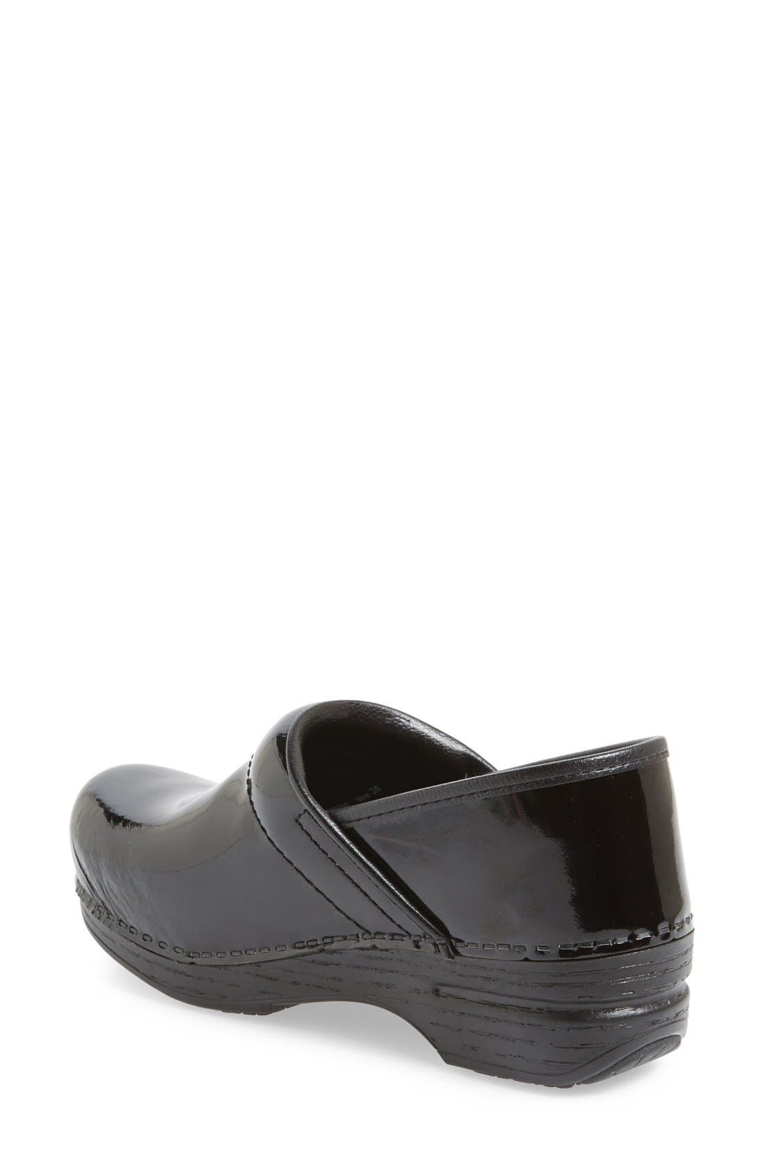 DANSKO,                             'Professional XP' Clog,                             Alternate thumbnail 2, color,                             BLACK PATENT/ BLACK