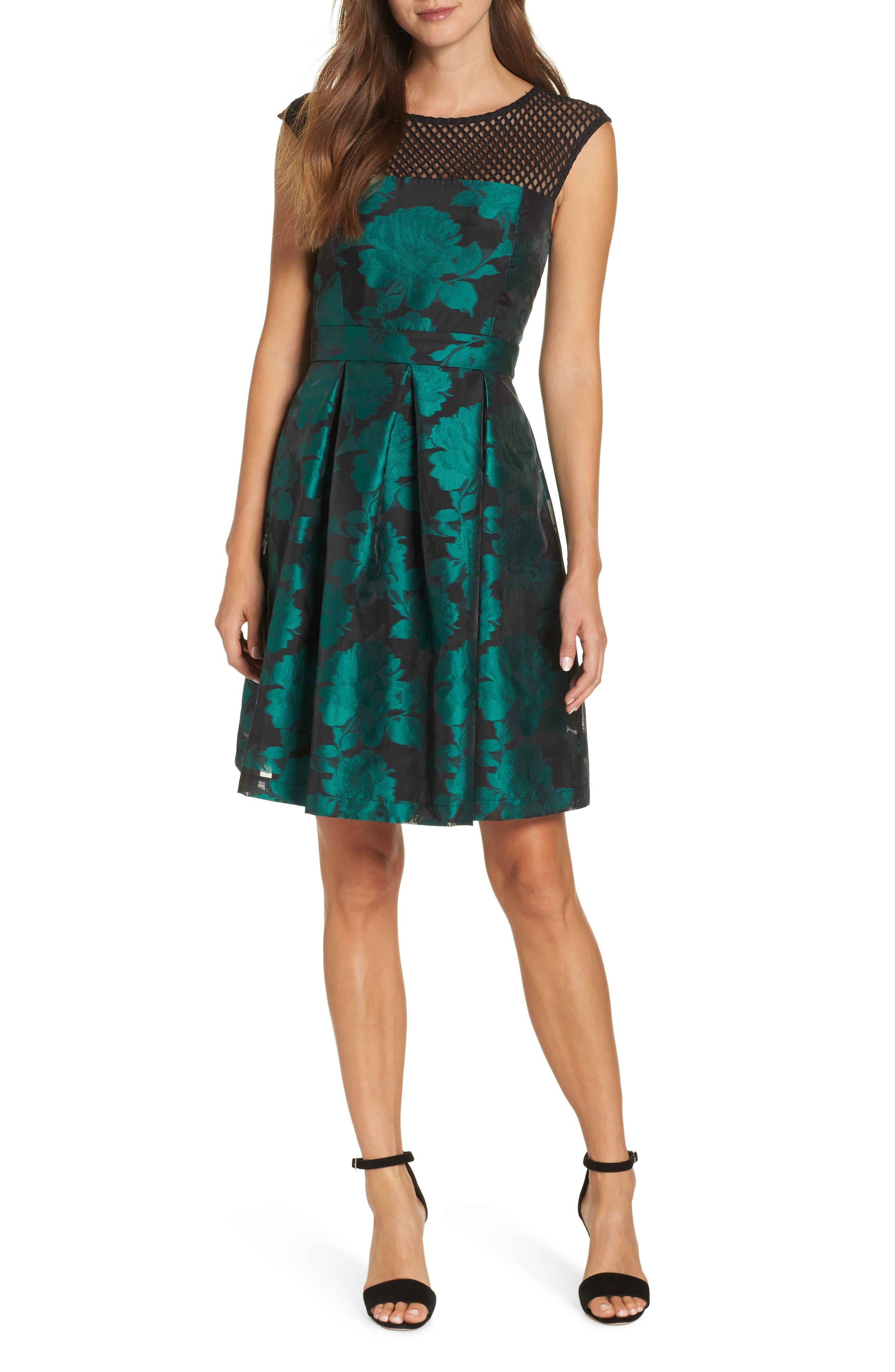Julia Jordan Jacquard Fit & Flare Dress