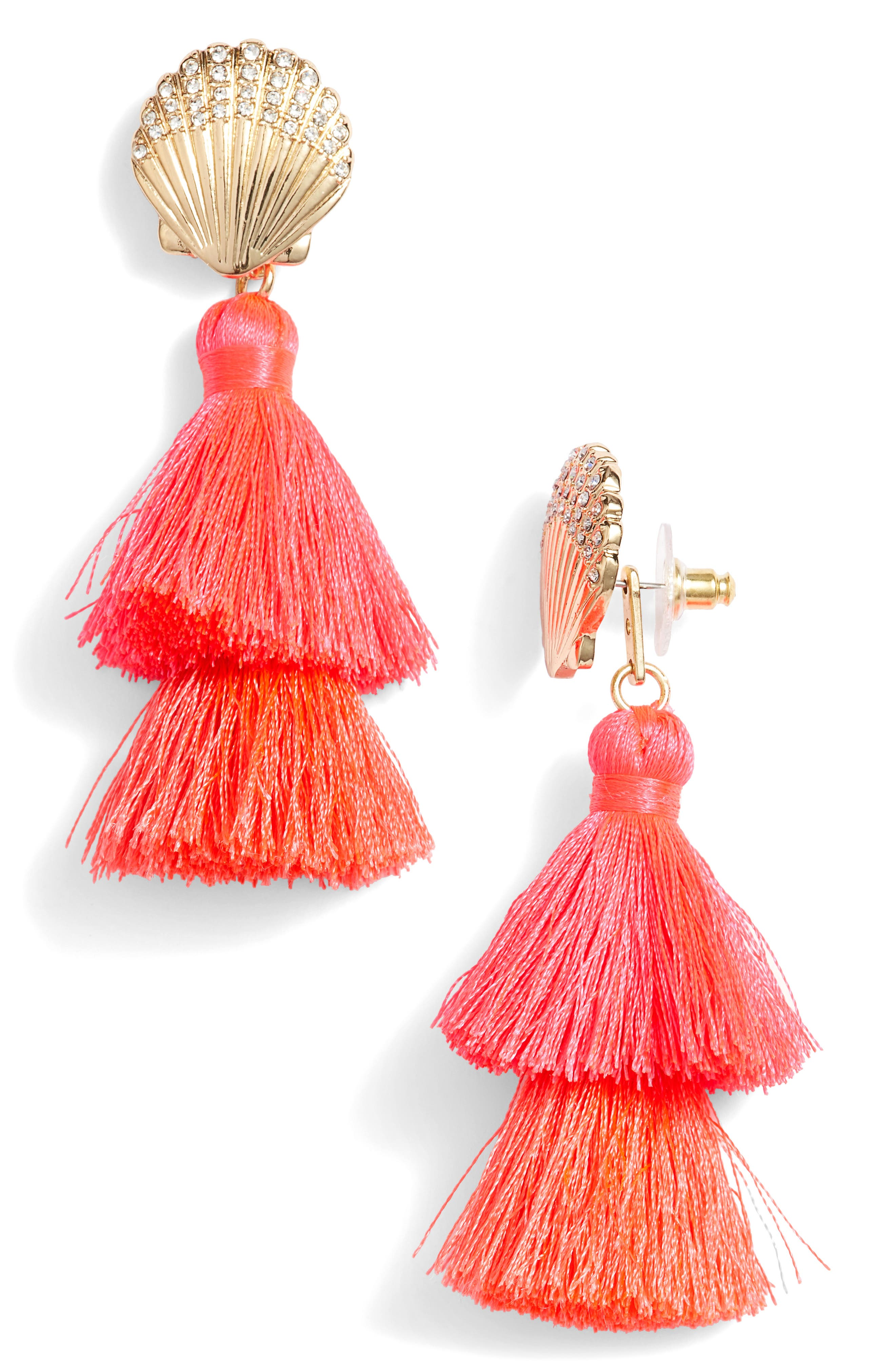 Lilly Pulitzer Shell Yeah Tassel Earrings,                             Main thumbnail 1, color,                             COSMIC CORAL
