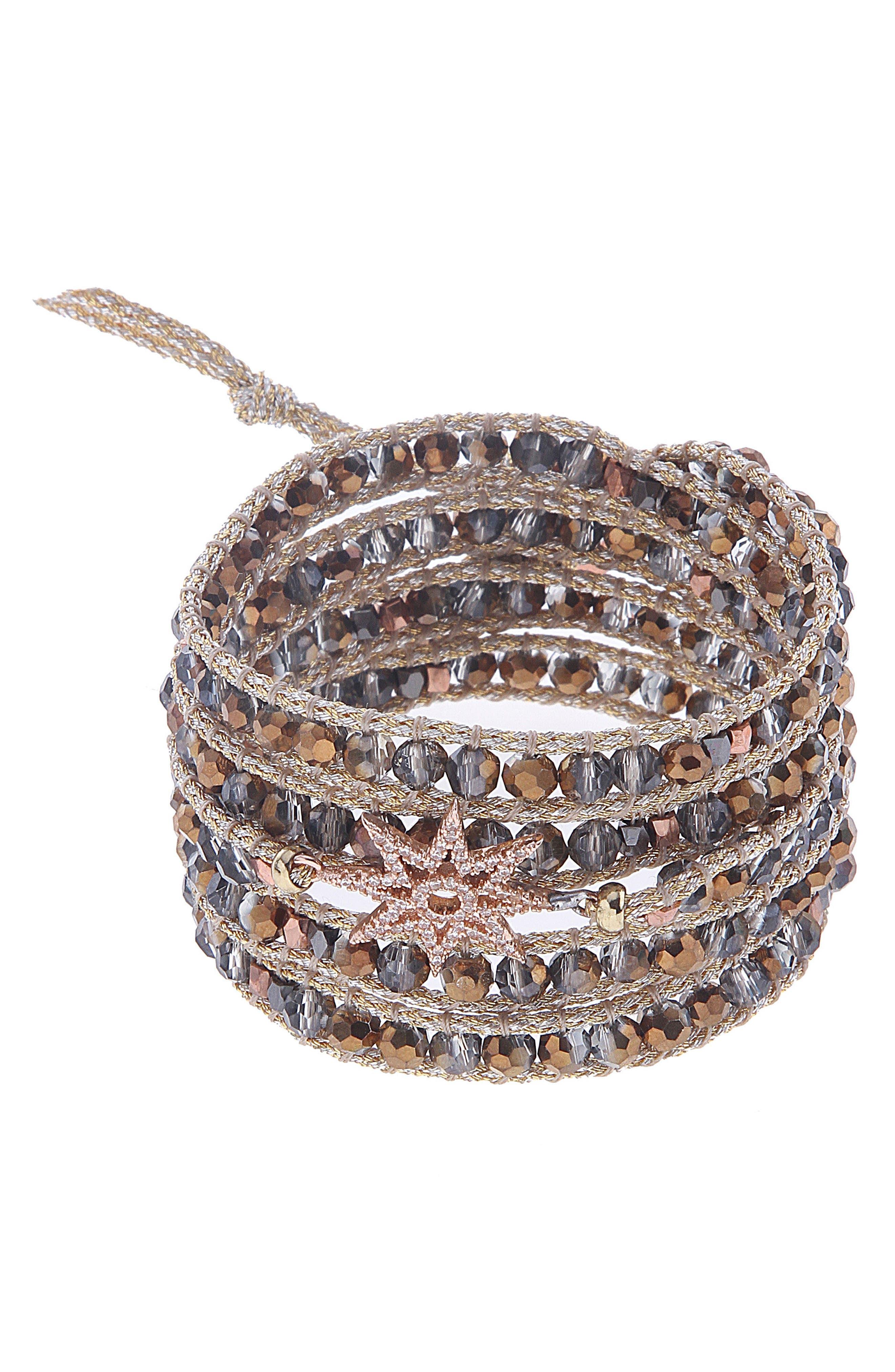 Crystal Beaded Wrap Bracelet,                             Main thumbnail 2, color,