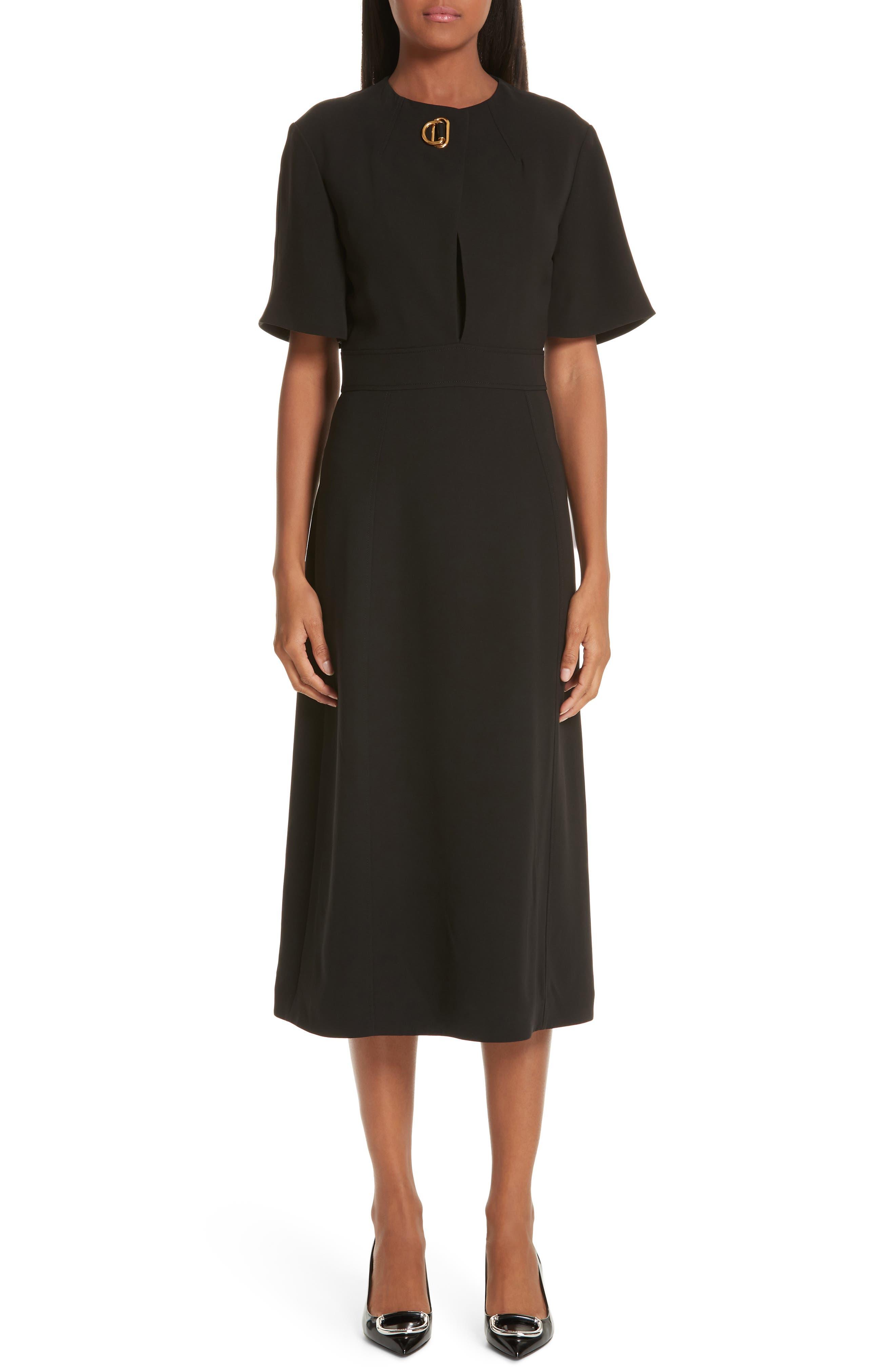 Burberry Kaly D-Ring Detail Silk & Wool Dress, Black