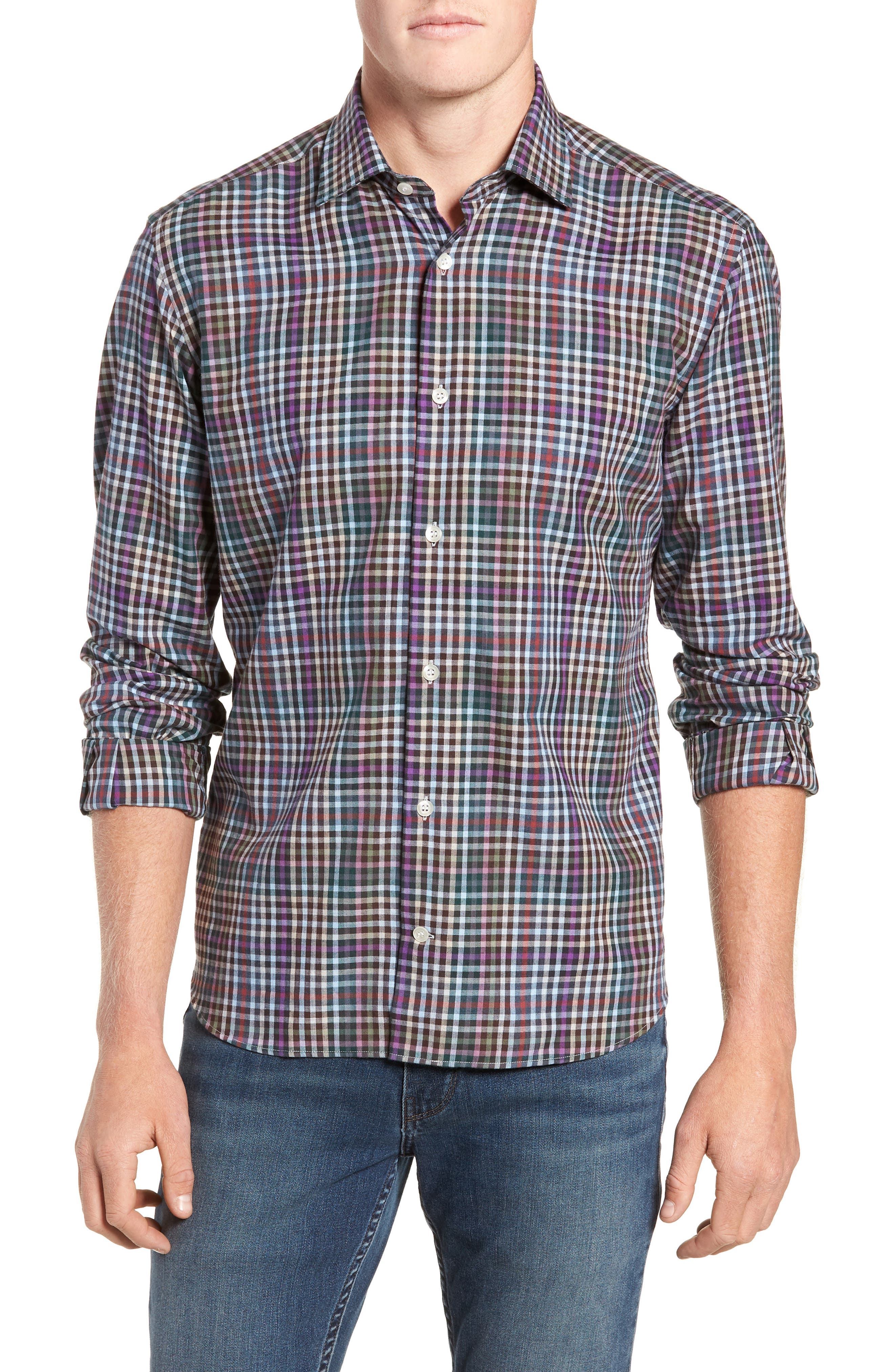 Tailored Fit Check Sport Shirt,                         Main,                         color, 020