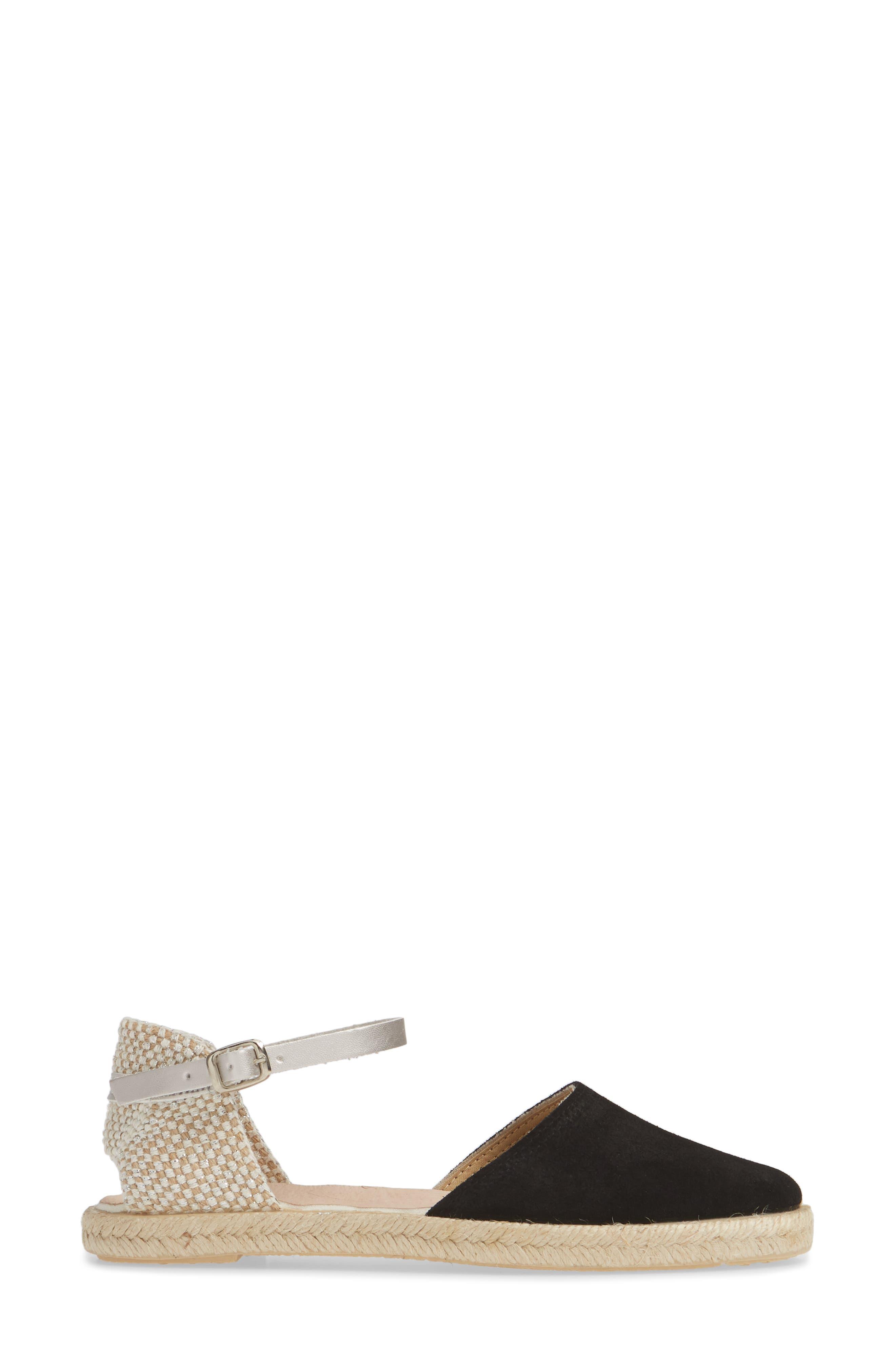 Bertie Espadrille Sandal,                             Alternate thumbnail 3, color,                             BLACK SUEDE