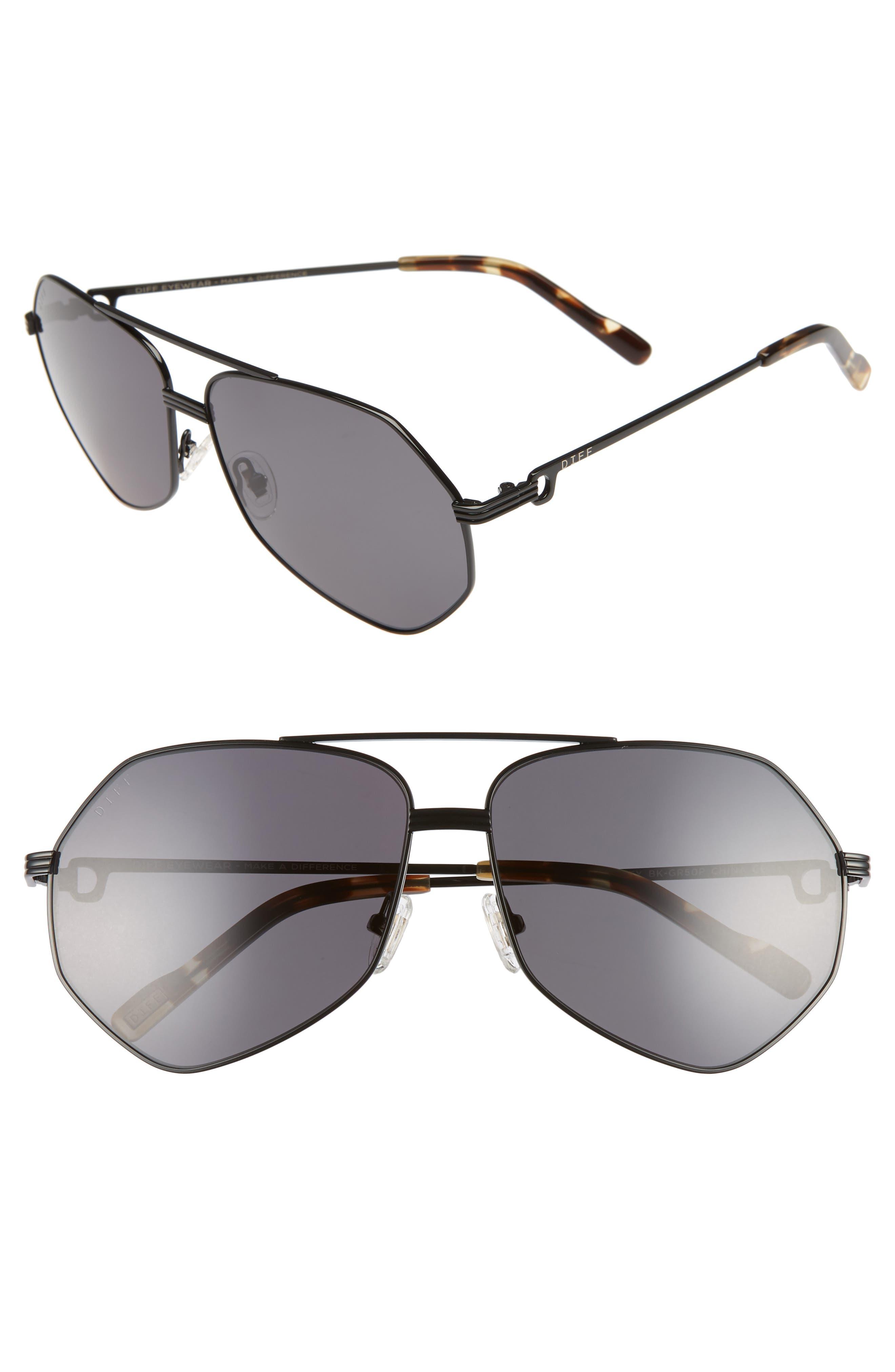 Sydney 62mm Polarized Aviator Sunglasses,                             Main thumbnail 1, color,                             BLACK/ MOSS HAVANA/ GREY