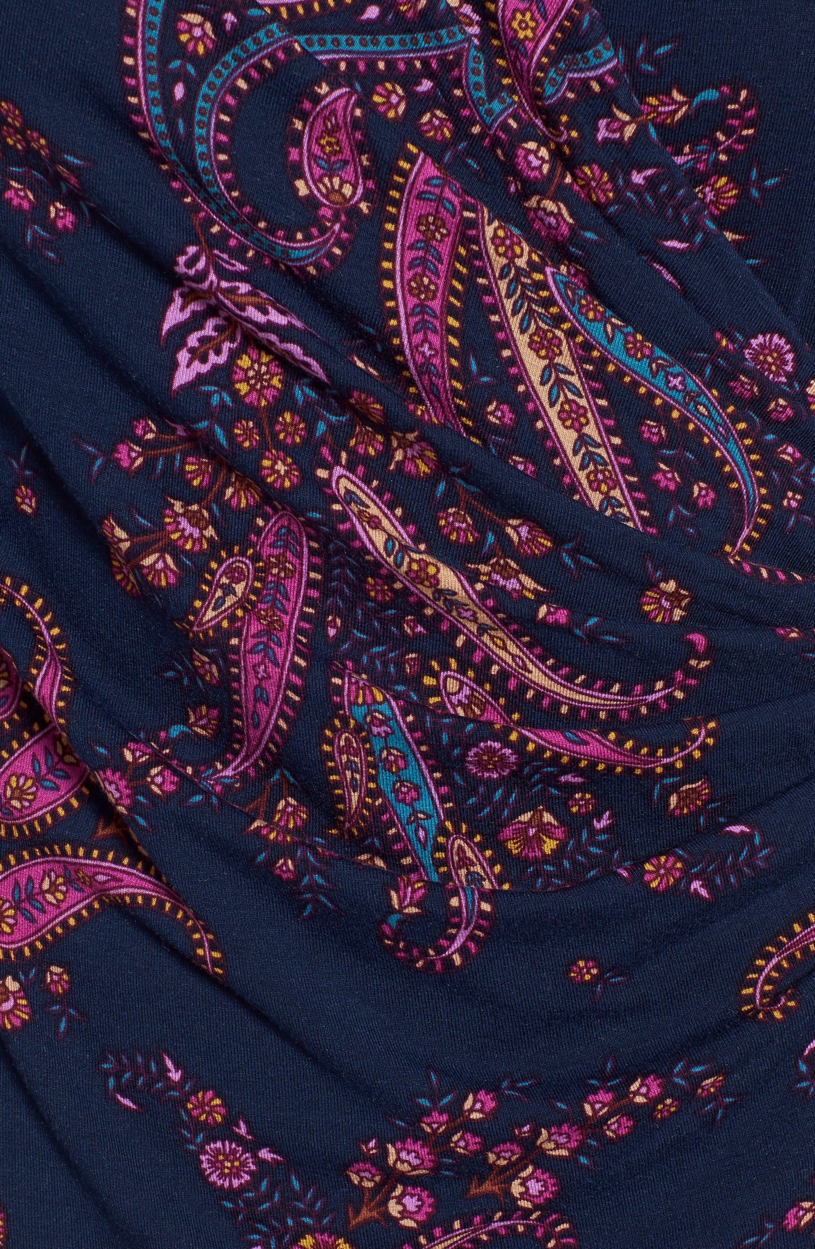 Paisley Daze Faux Wrap Dress,                             Alternate thumbnail 5, color,                             400