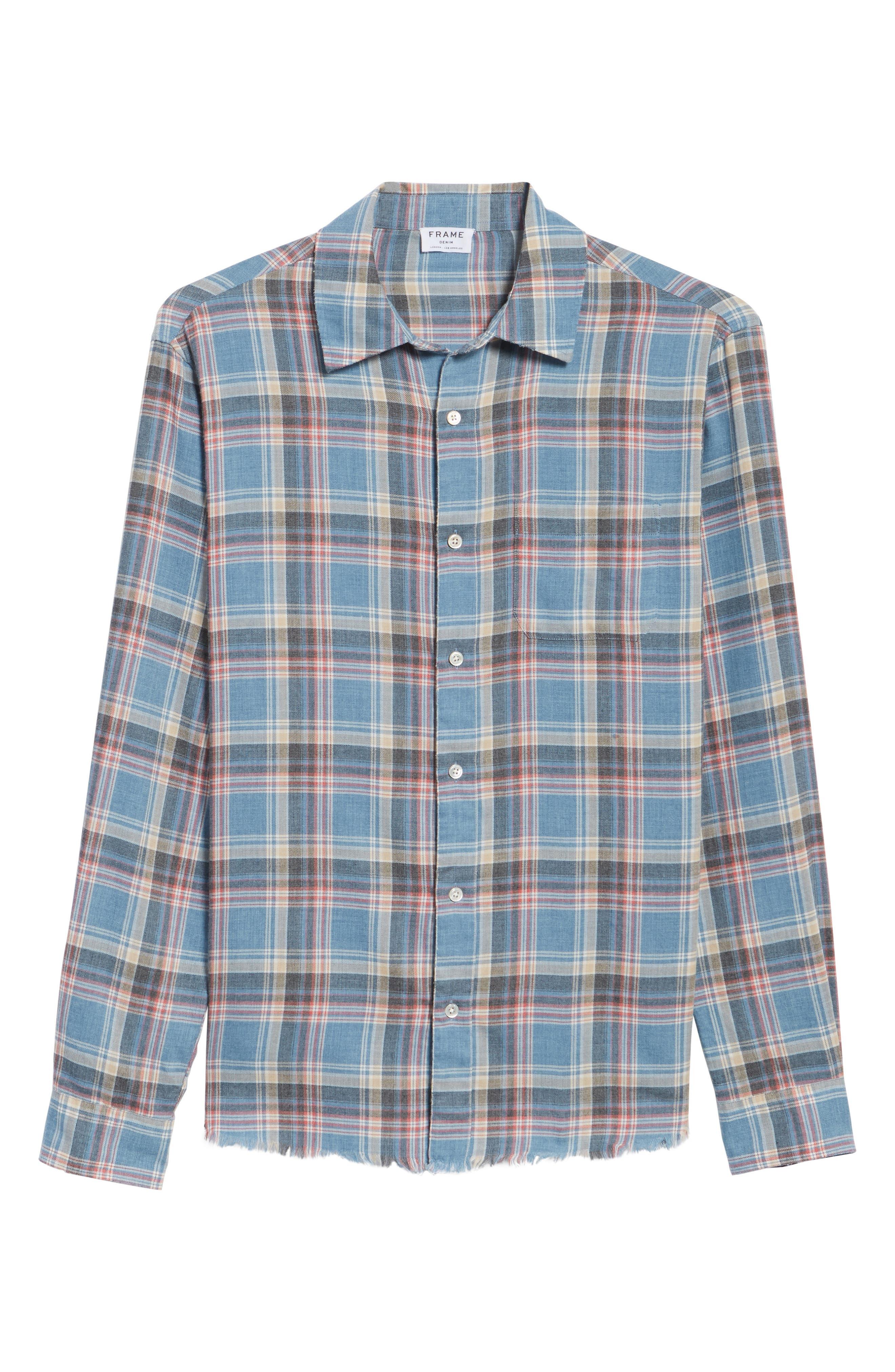 Fray Hem Plaid Flannel Shirt,                             Alternate thumbnail 6, color,                             401