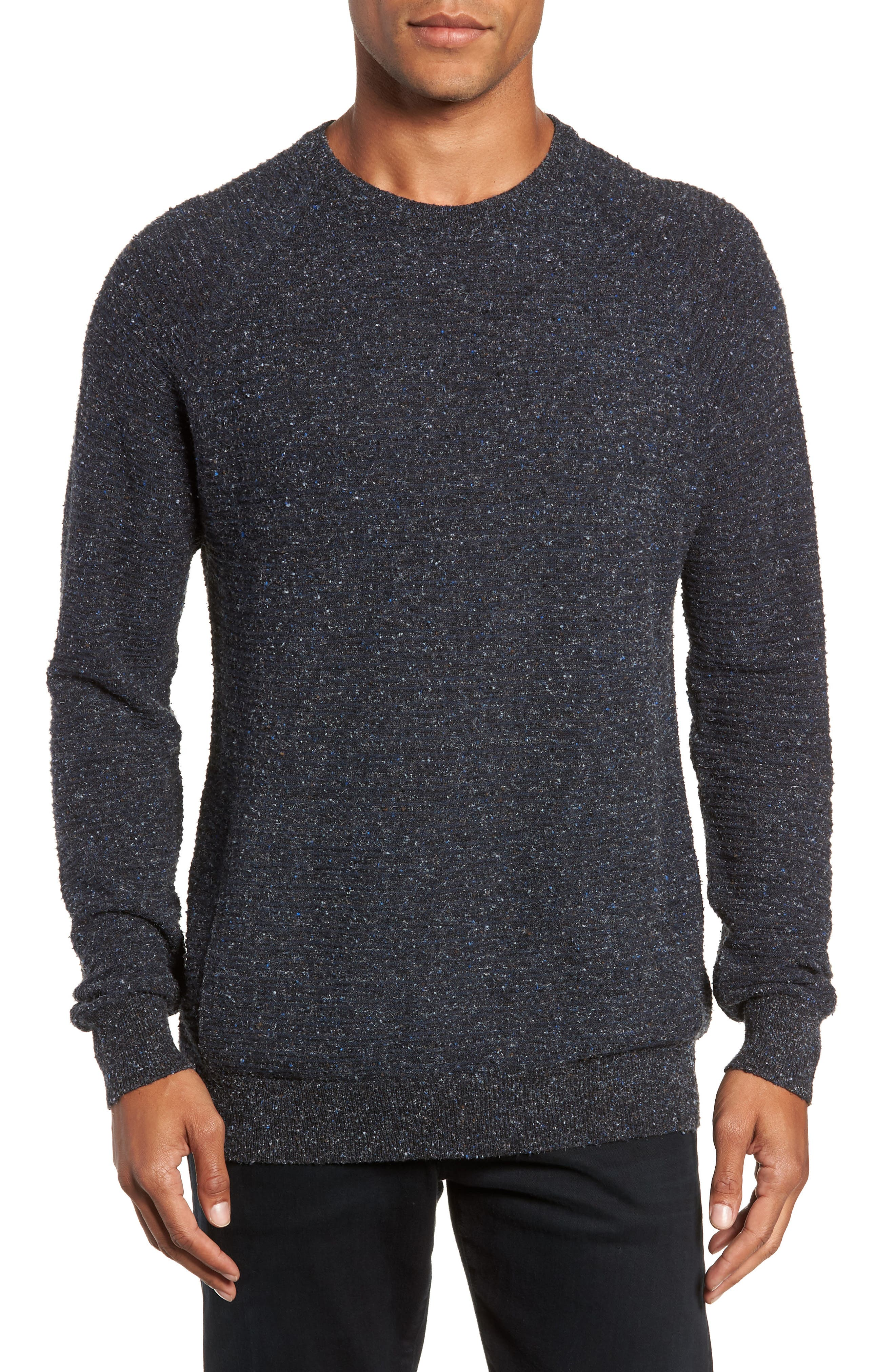 Speckle Stripe Sweater,                         Main,                         color, NAVY/ CHARCOAL